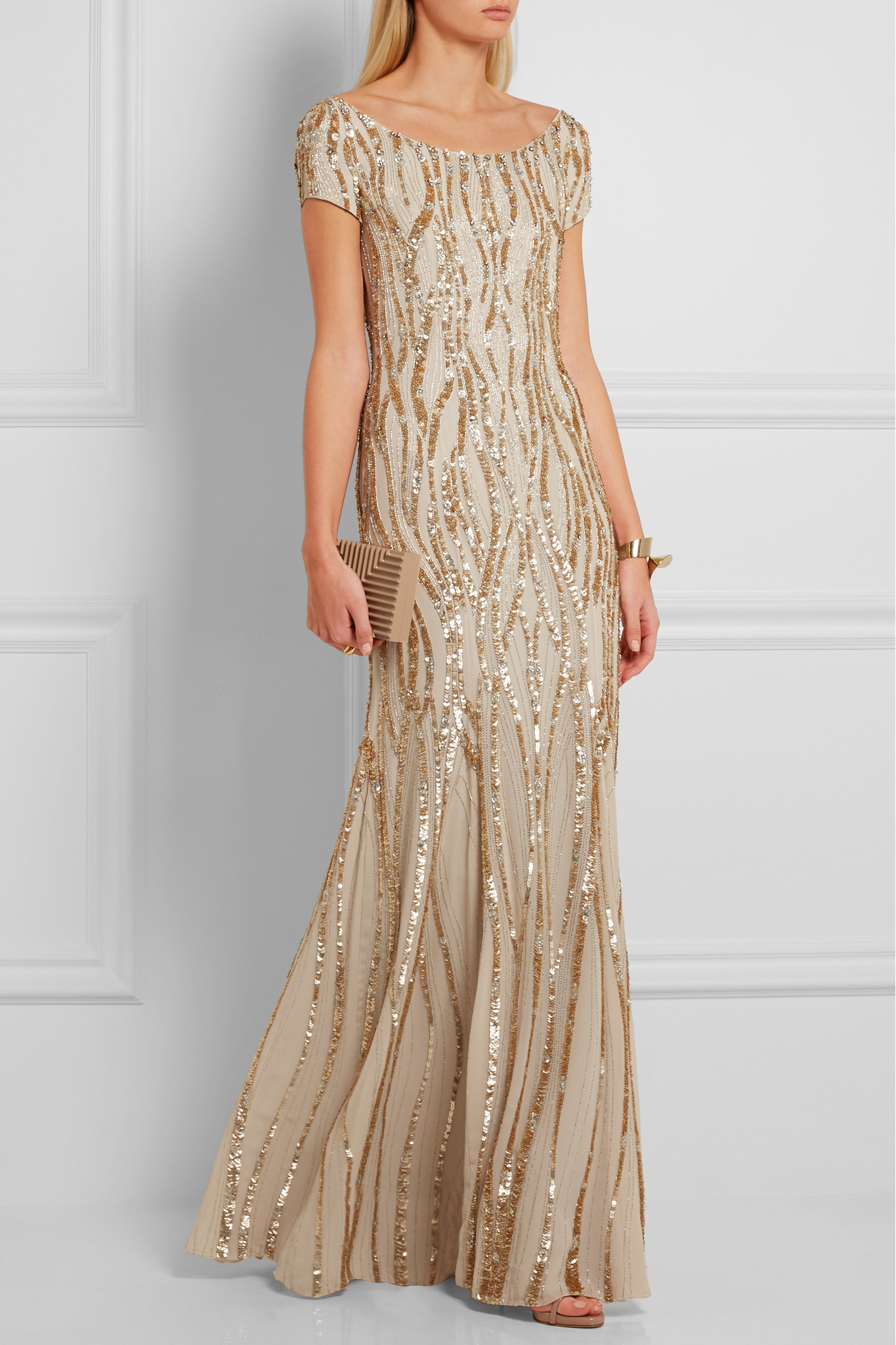 Jenny Packham Sequined Silk-georgette Gown in Natural - Lyst