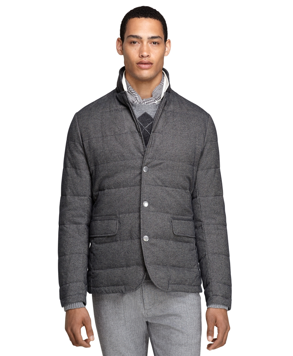 Brooks brothers Quilted Blazer in Gray for Men | Lyst : quilted blazer - Adamdwight.com