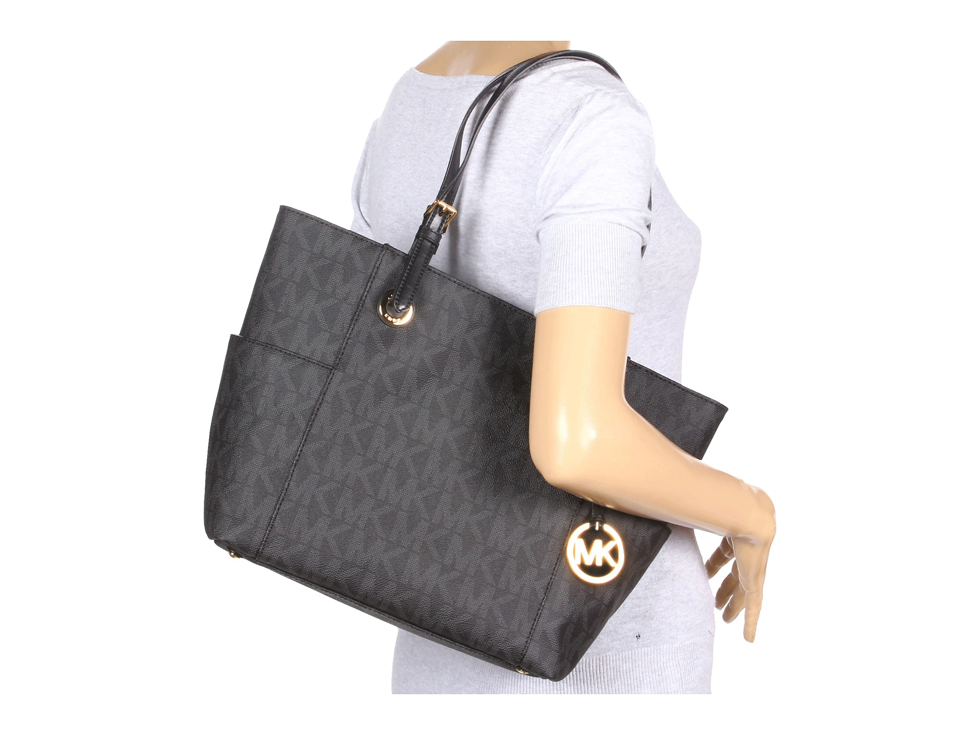f397c0332ce4 Lyst - MICHAEL Michael Kors Mk Logo East west Signature Tote in Black