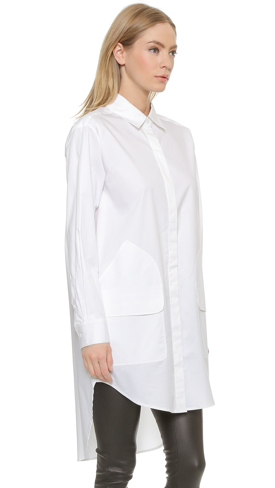 4a165894089 DKNY Long Sleeve Button Down Tunic - White in White - Lyst