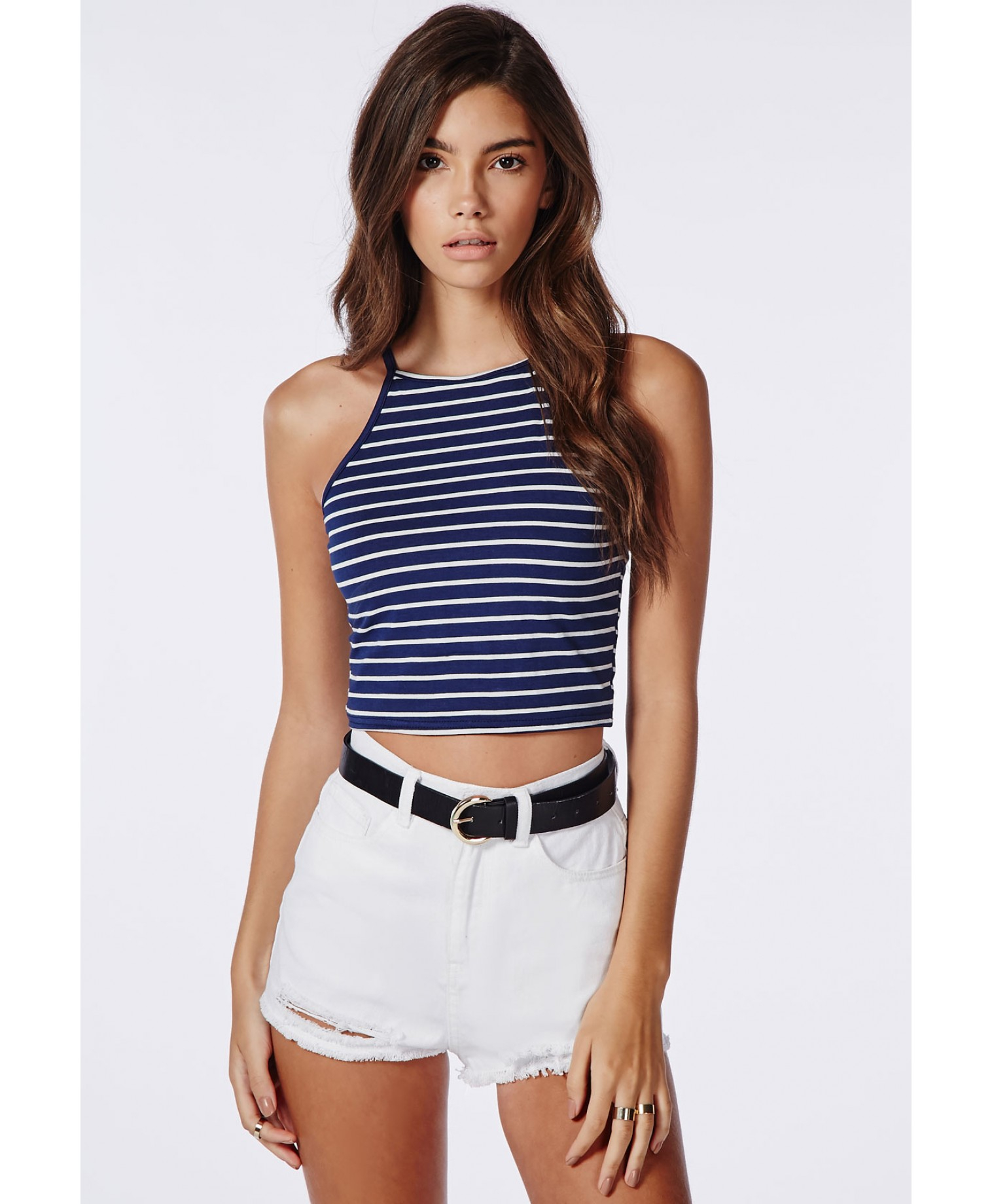 c268df0f522 592c7f0423e5b Lyst - Missguided Striped High Neck Crop Top Navy in Blue ...