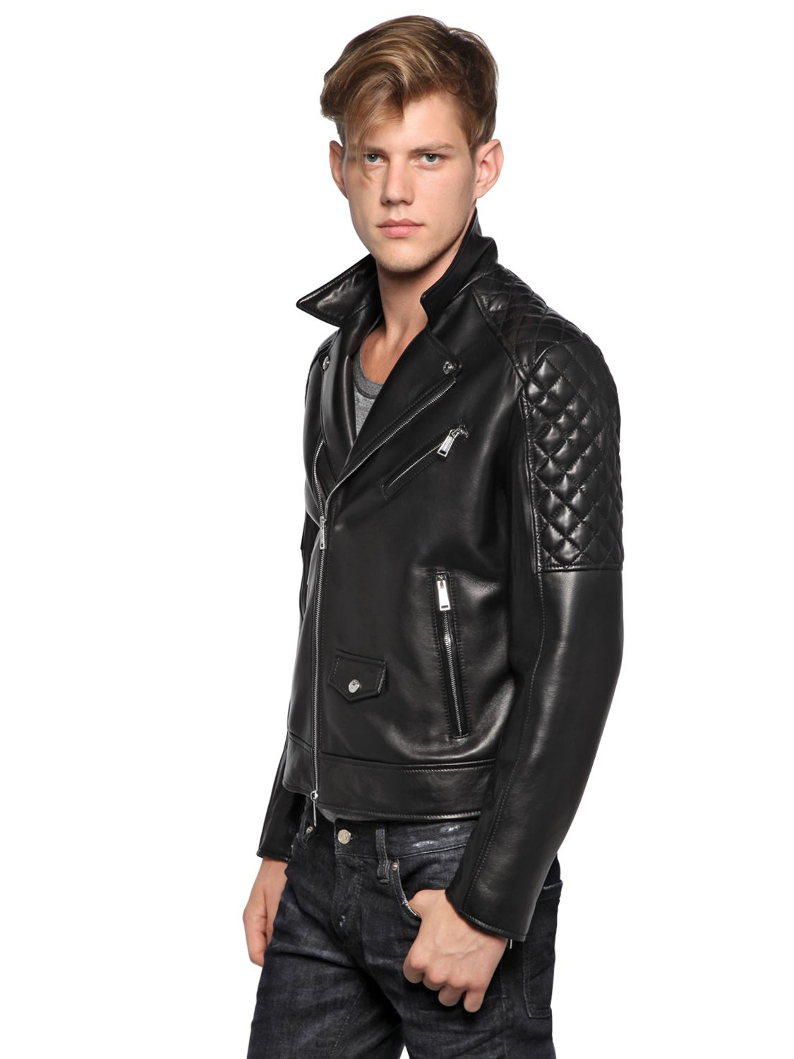 Dsquared 178 Quilted Soft Nappa Leather Biker Jacket In Black