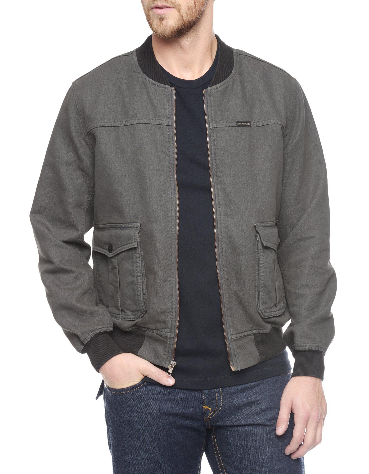 True religion Mens Bomber Jacket in Black for Men | Lyst