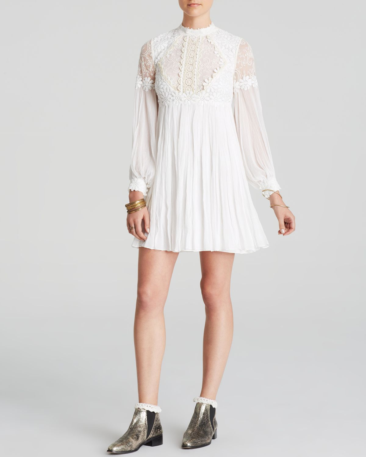 Free People Dress - Lou Lou Lace Babydoll in White (Ivory ...