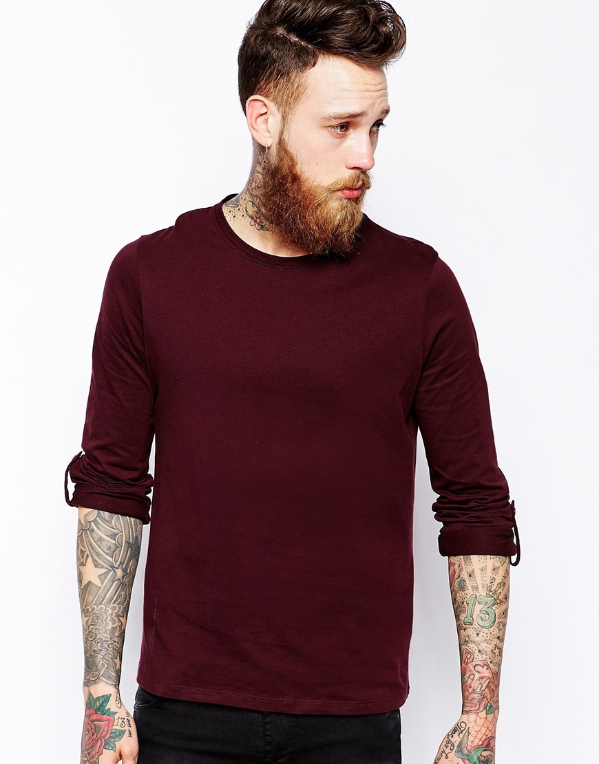 Asos Long Sleeve T-Shirt With Roll Sleeve And Tab in Purple for ...
