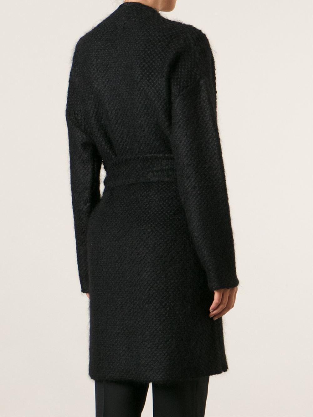 lyst vanessa bruno ath robe style coat in black. Black Bedroom Furniture Sets. Home Design Ideas