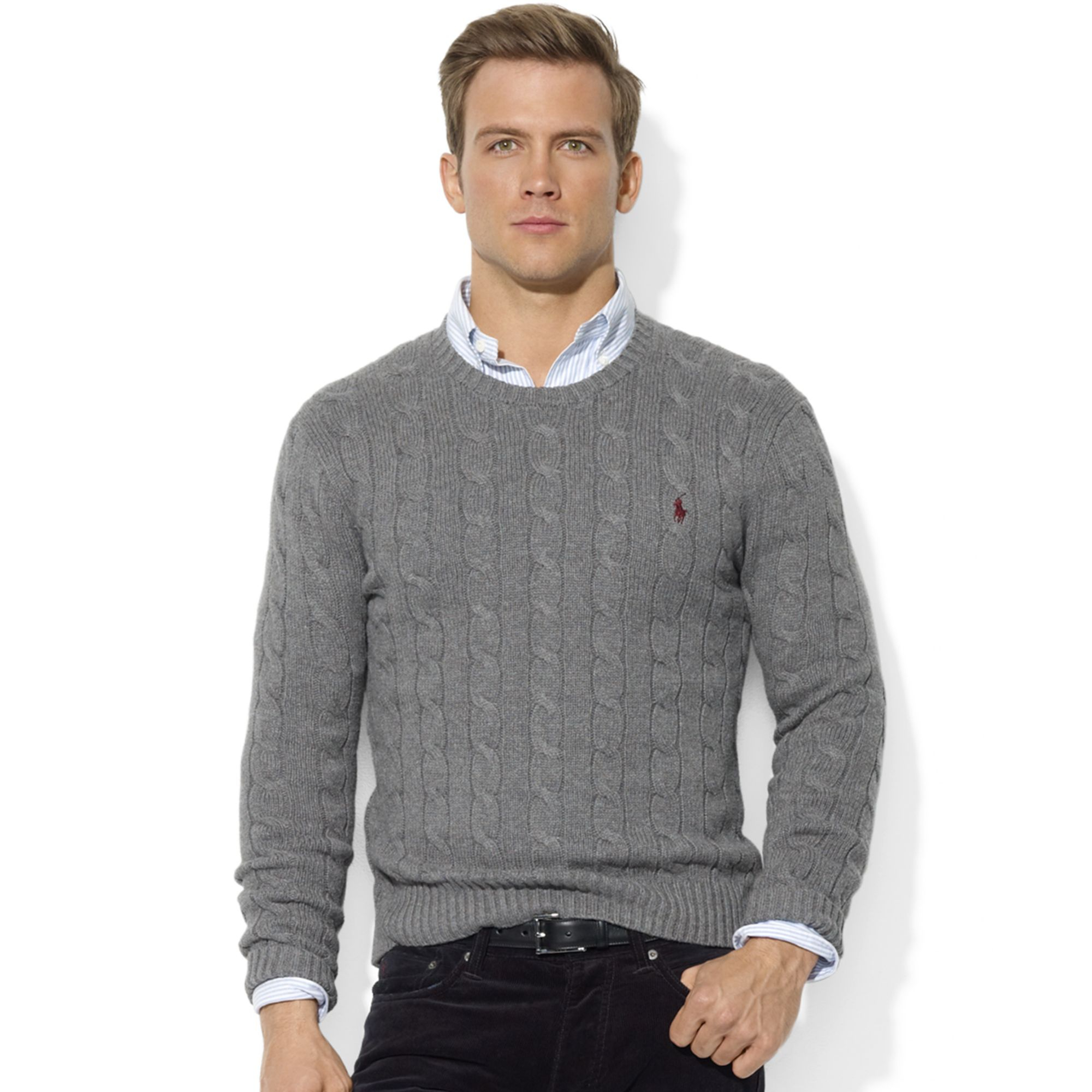 ae7426a8590 authentic sweaters polo ralph lauren macys 28a03 3909e  top quality lyst  ralph lauren roving crew neck cable cotton sweater in gray cde42 3f52a