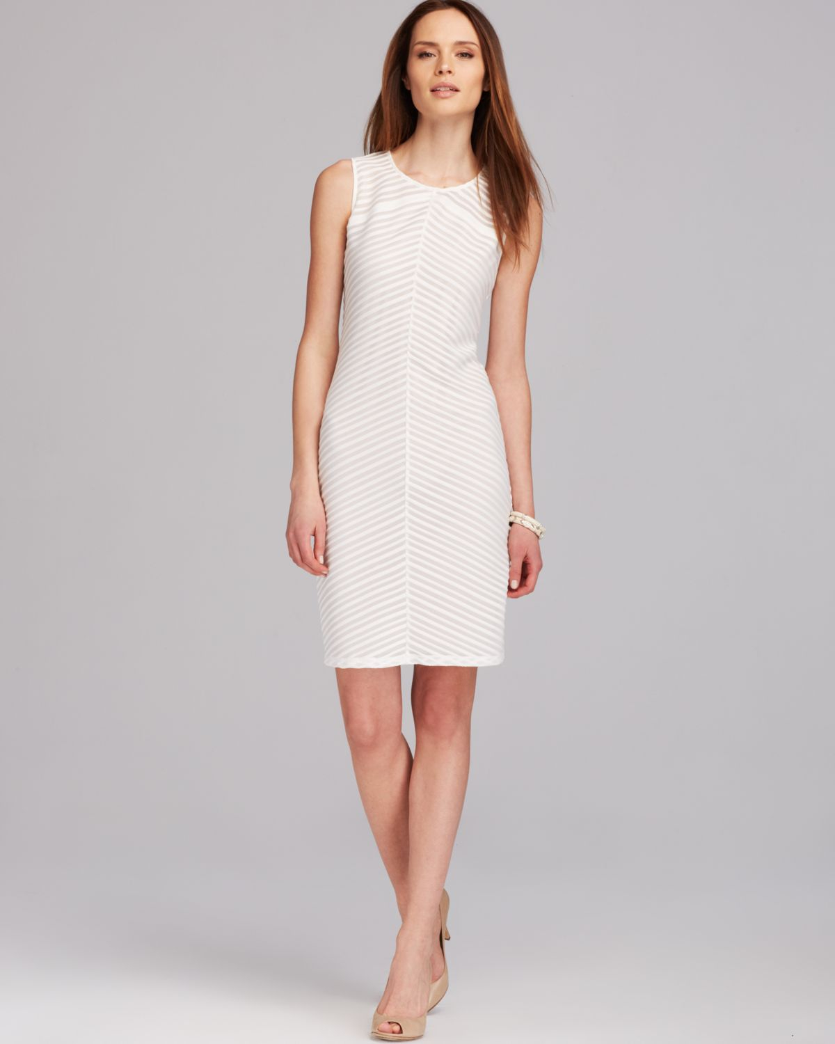 5dbd6fc699dec Lyst - Calvin Klein Sleeveless Striped Dress in White