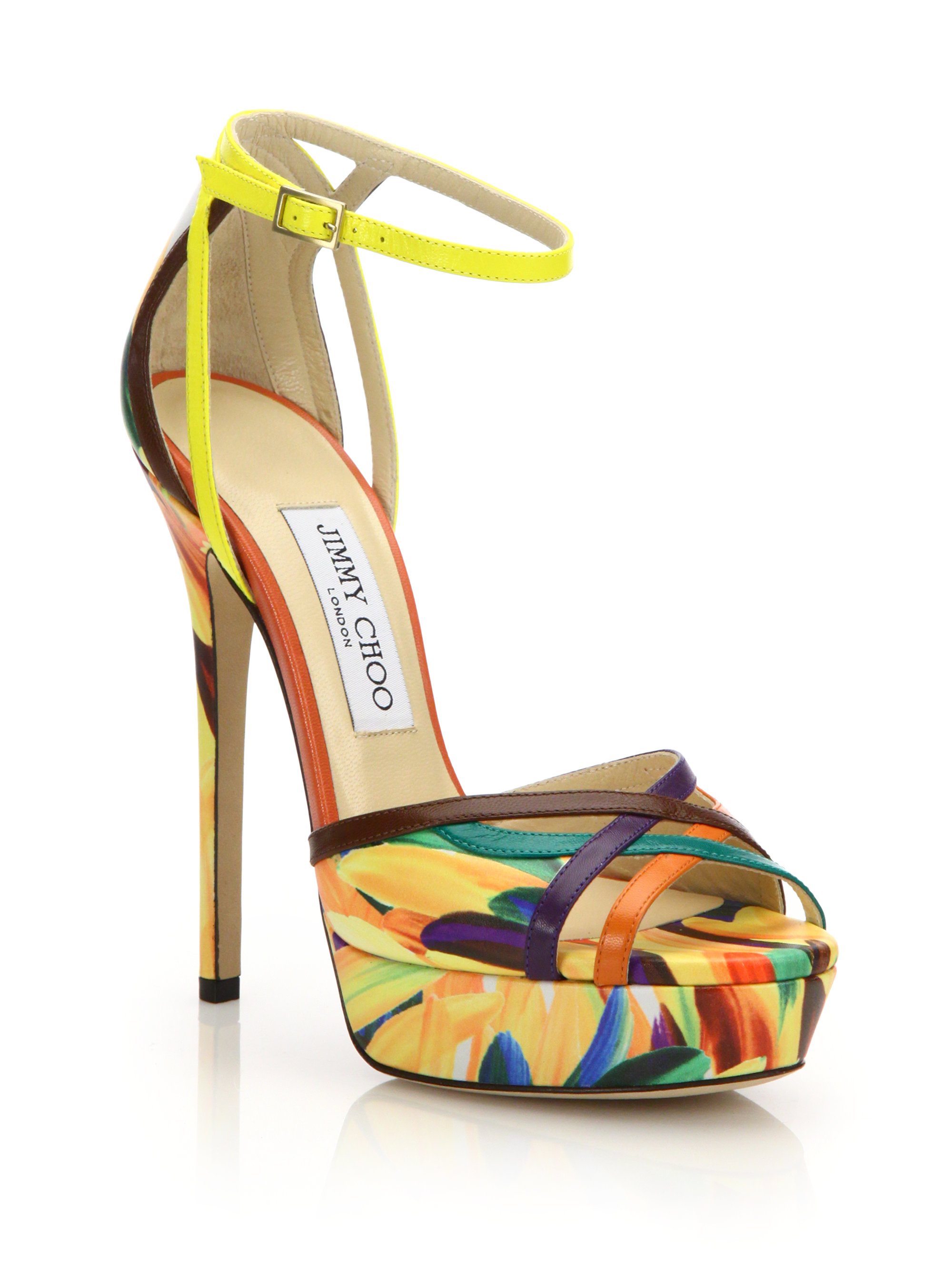 cca9c4490c9 Lyst - Jimmy Choo Laurita Feather-print Leather Platform Sandals in ...