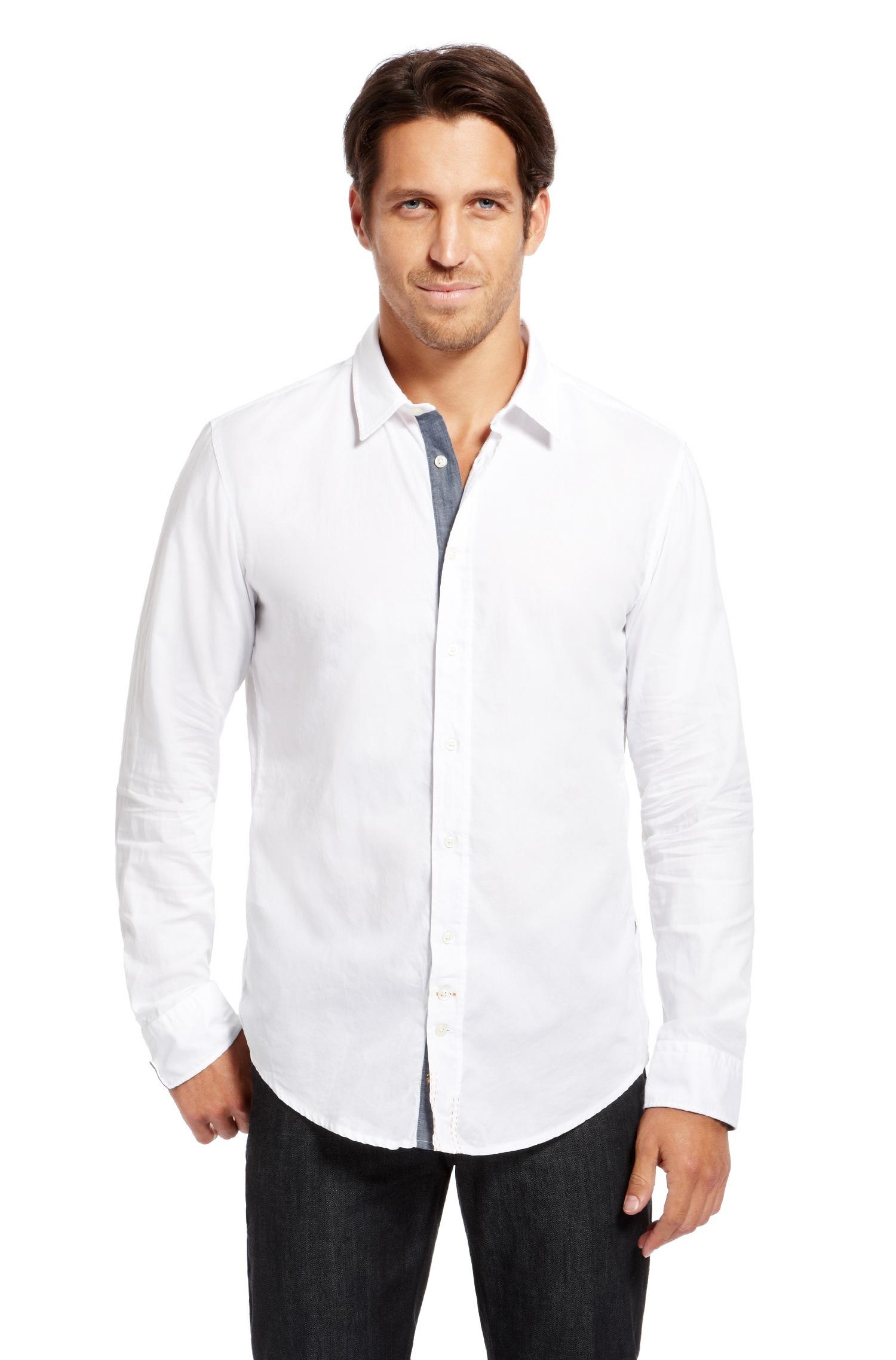 Boss orange 39 cliffe 39 slim fit cotton button down shirt for Slim fit white button down shirt