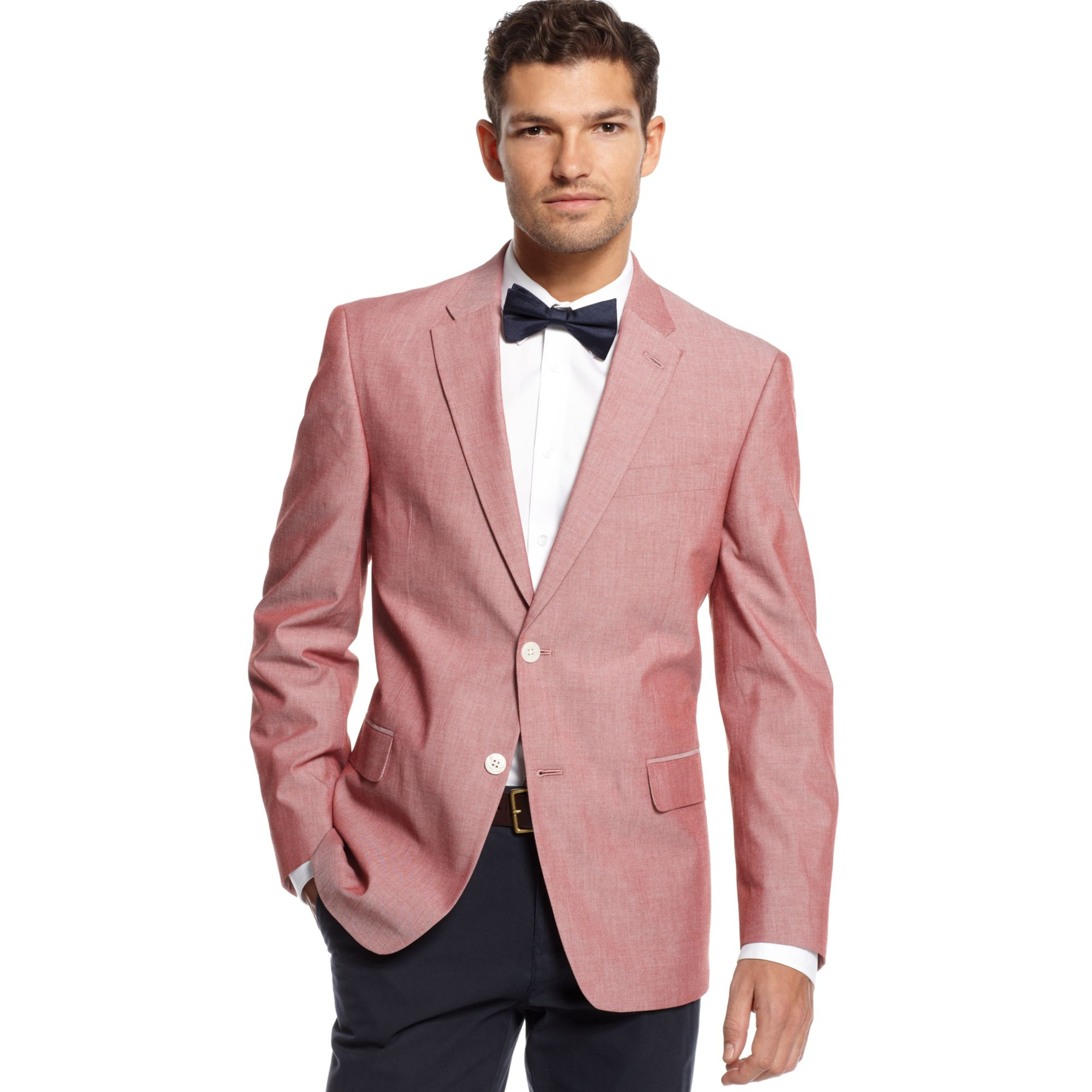 Tommy hilfiger Chambray Sport Coat Slim Fit in Red for Men | Lyst