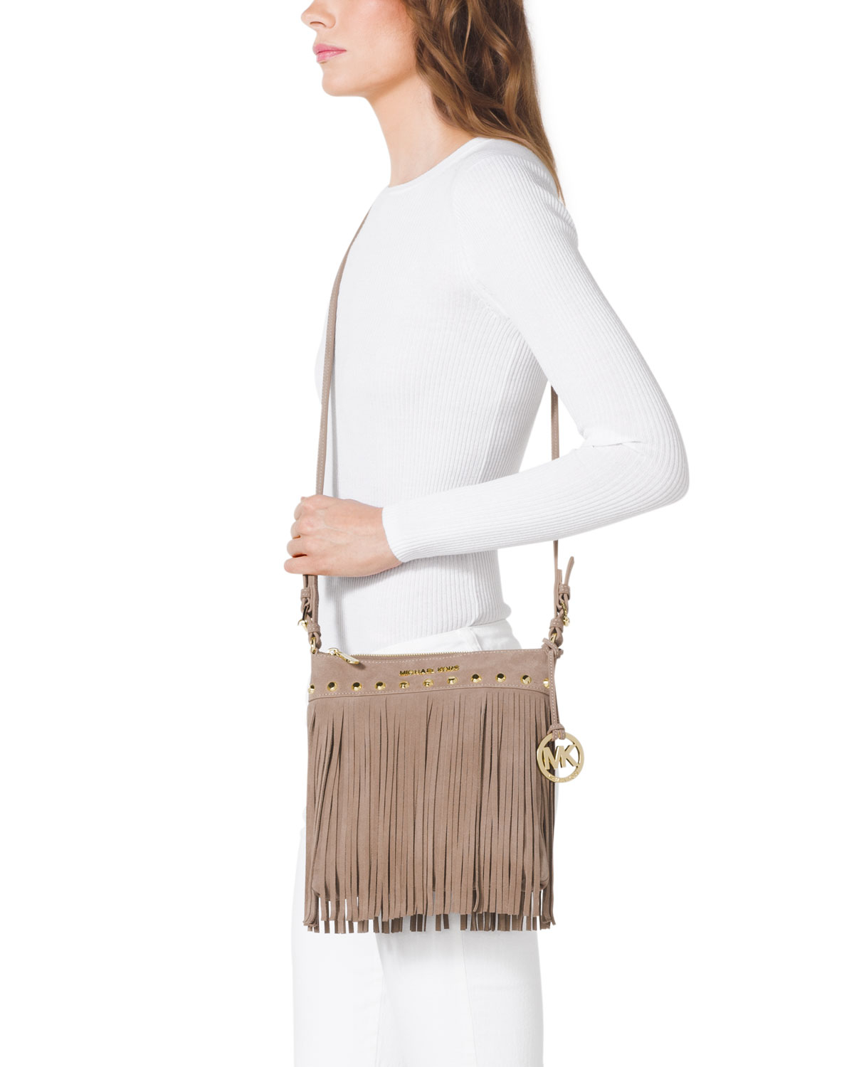 ed097d6ae1 MICHAEL Michael Kors Small Billy Messenger Bag in Natural - Lyst