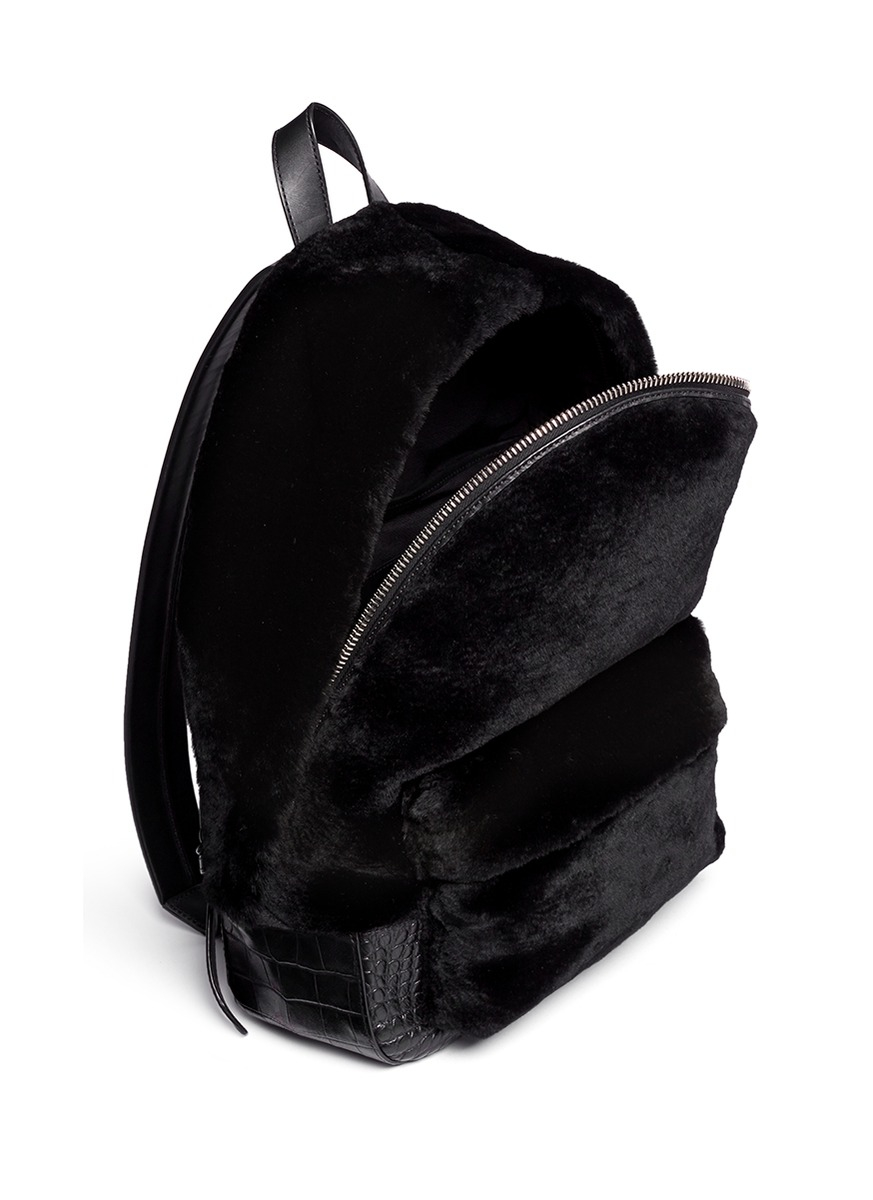 Alexander wang 'bookbag' Kangaroo Fur Croc Effect Leather Backpack ...