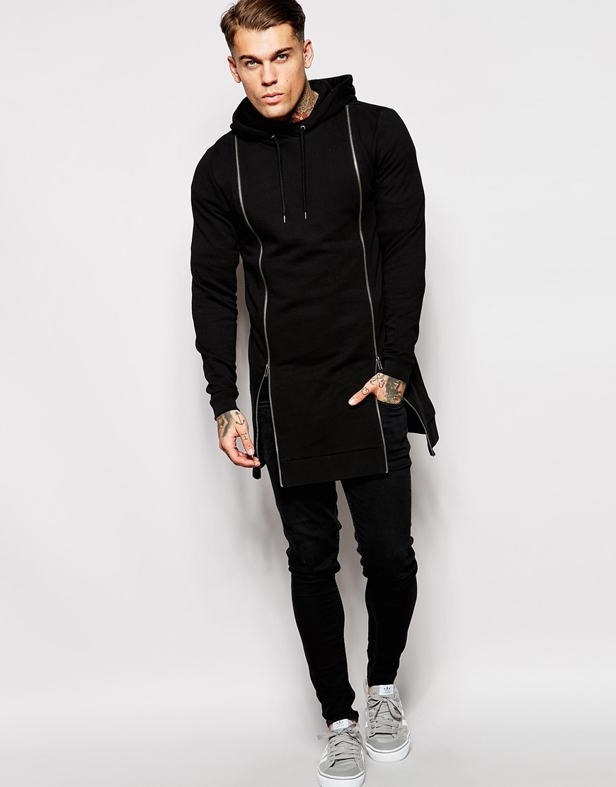 Asos Super Longline Hoodie With Double Zip Front In Black For Men Lyst