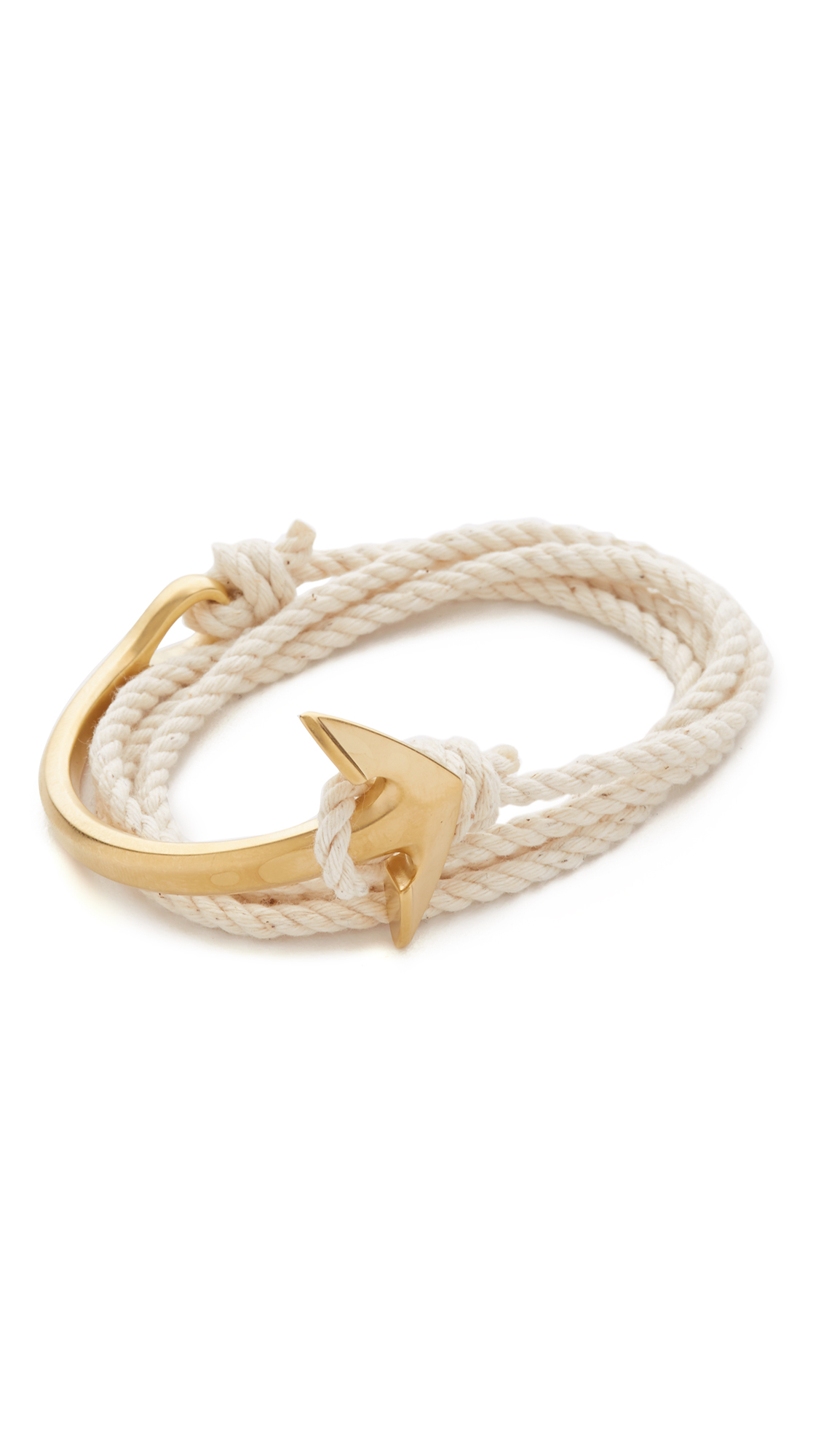 matte knot double bracelet infinity nautical with gold pin white anchor rope charm