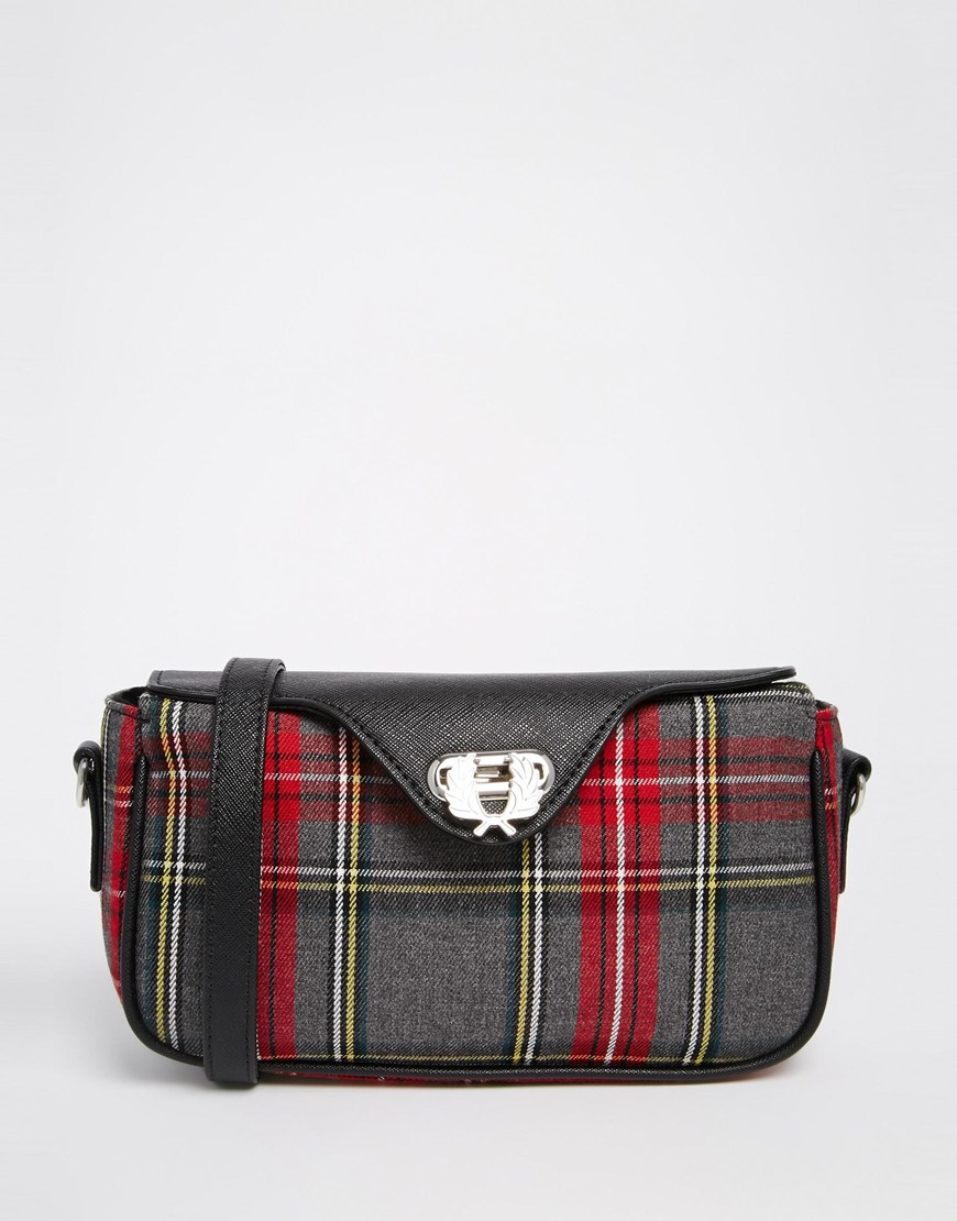 Fred perry Signiture Plaid Crossbody Bag in Gray | Lyst