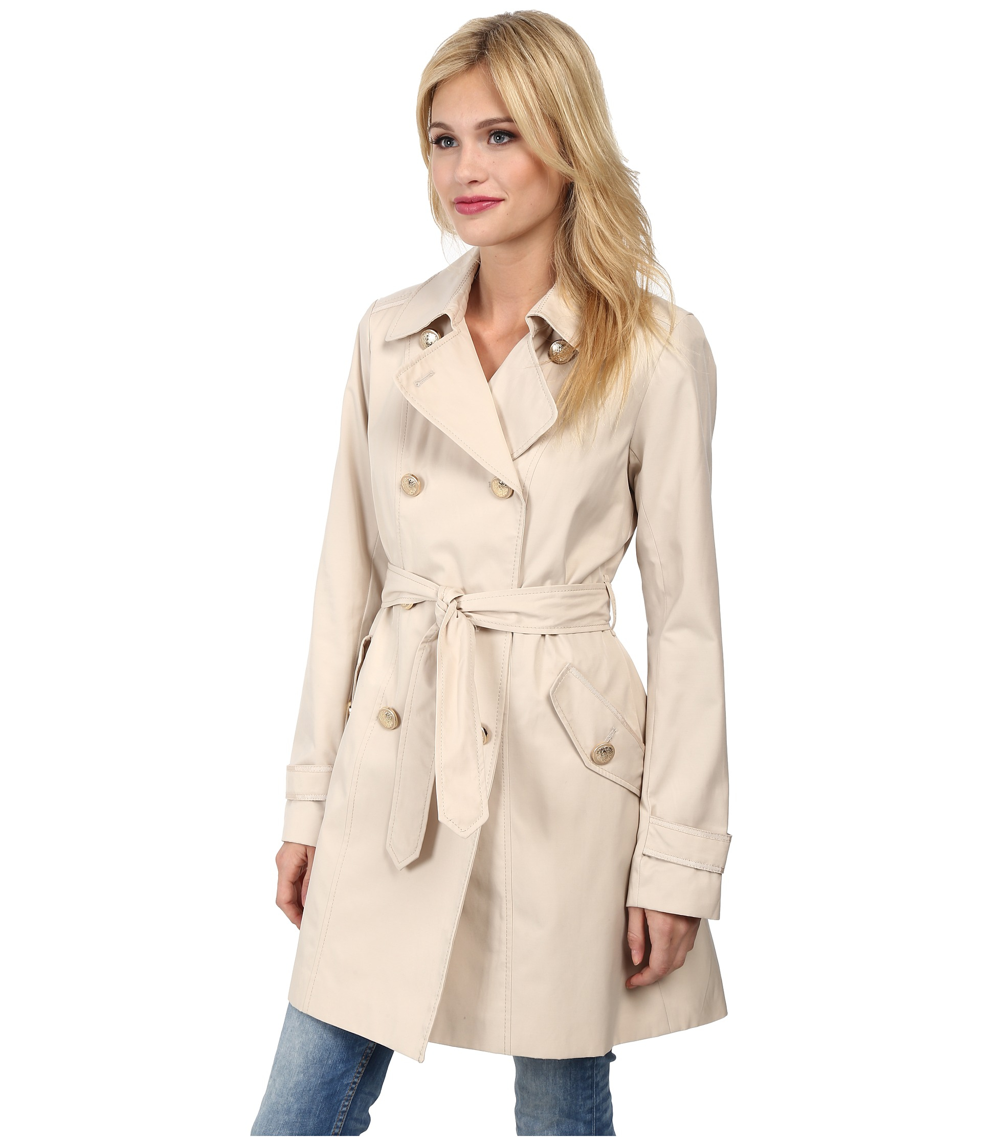4bbafaeaecf74 Lyst - Vince Camuto Double Breasted Trench Coat in Natural