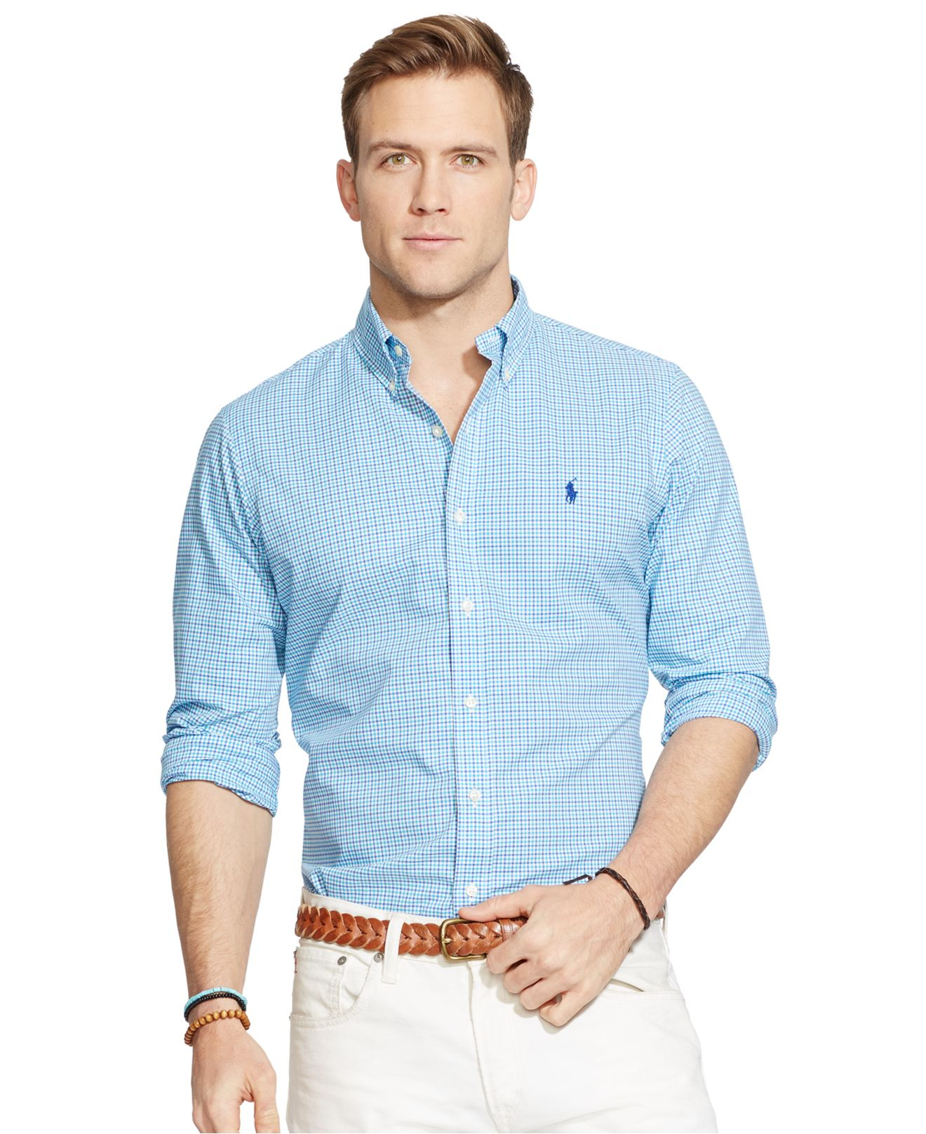 lyst polo ralph lauren checked poplin shirt in blue for men