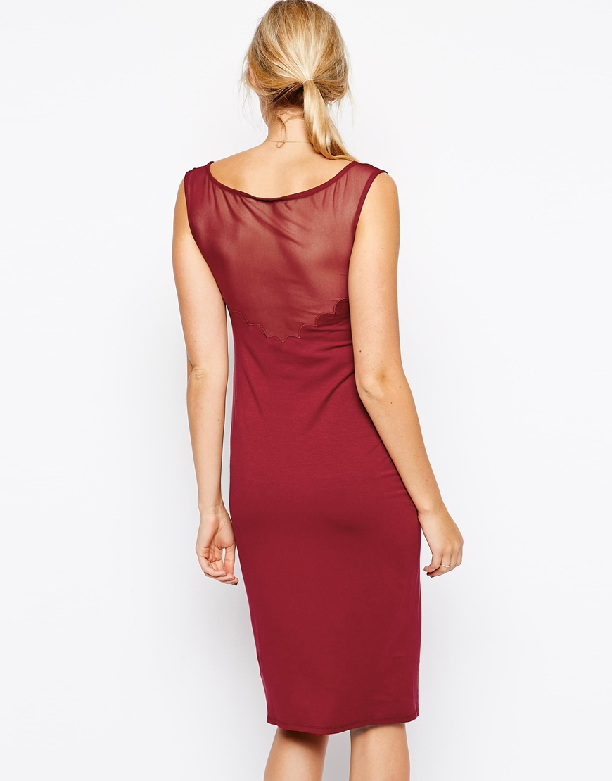 lyst asos midi bodycon dress with scallop and sheer