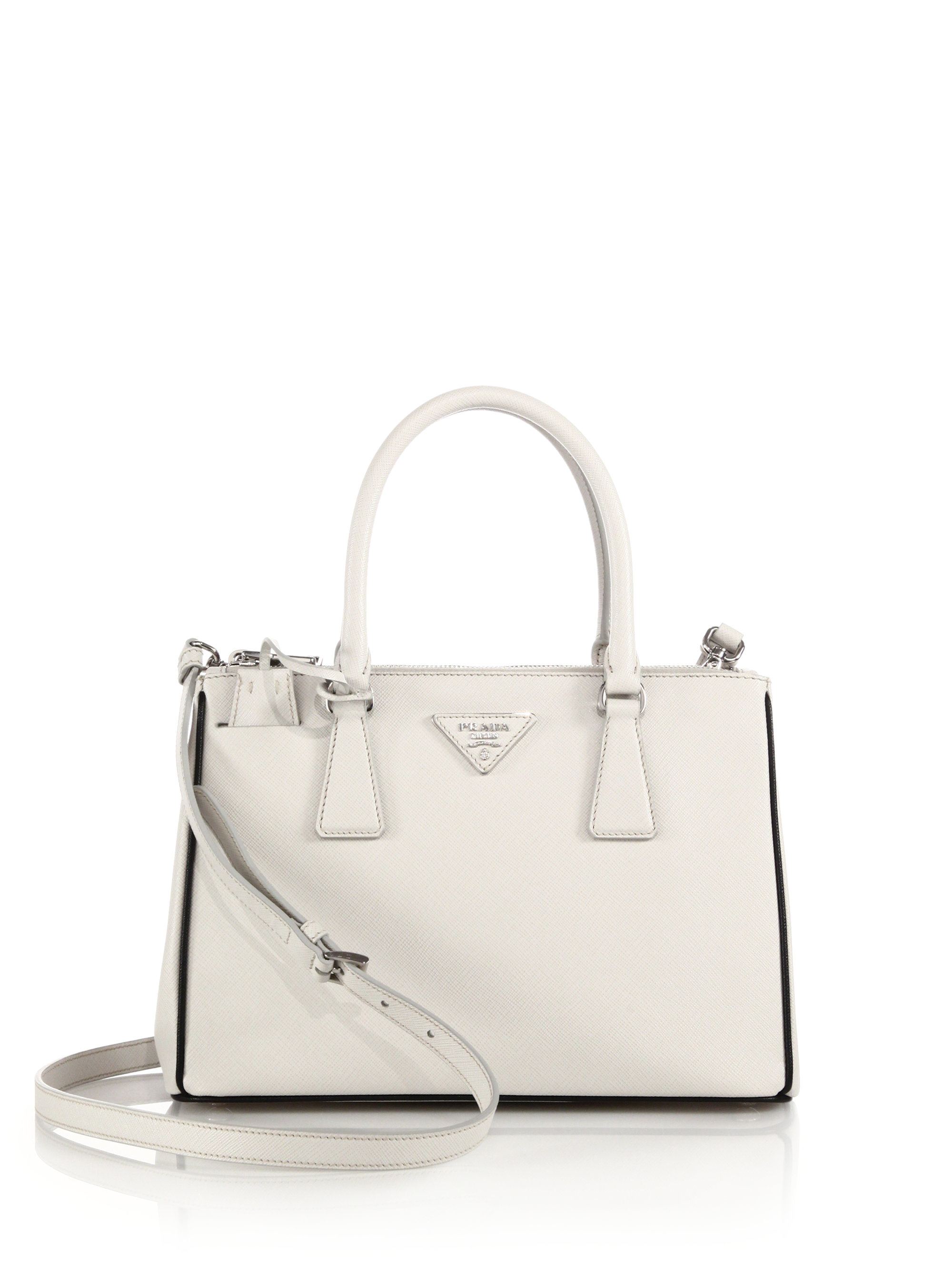 d1c4dc254c5f Lyst - Prada Saffiano Lux Small Double-zip Tote in White