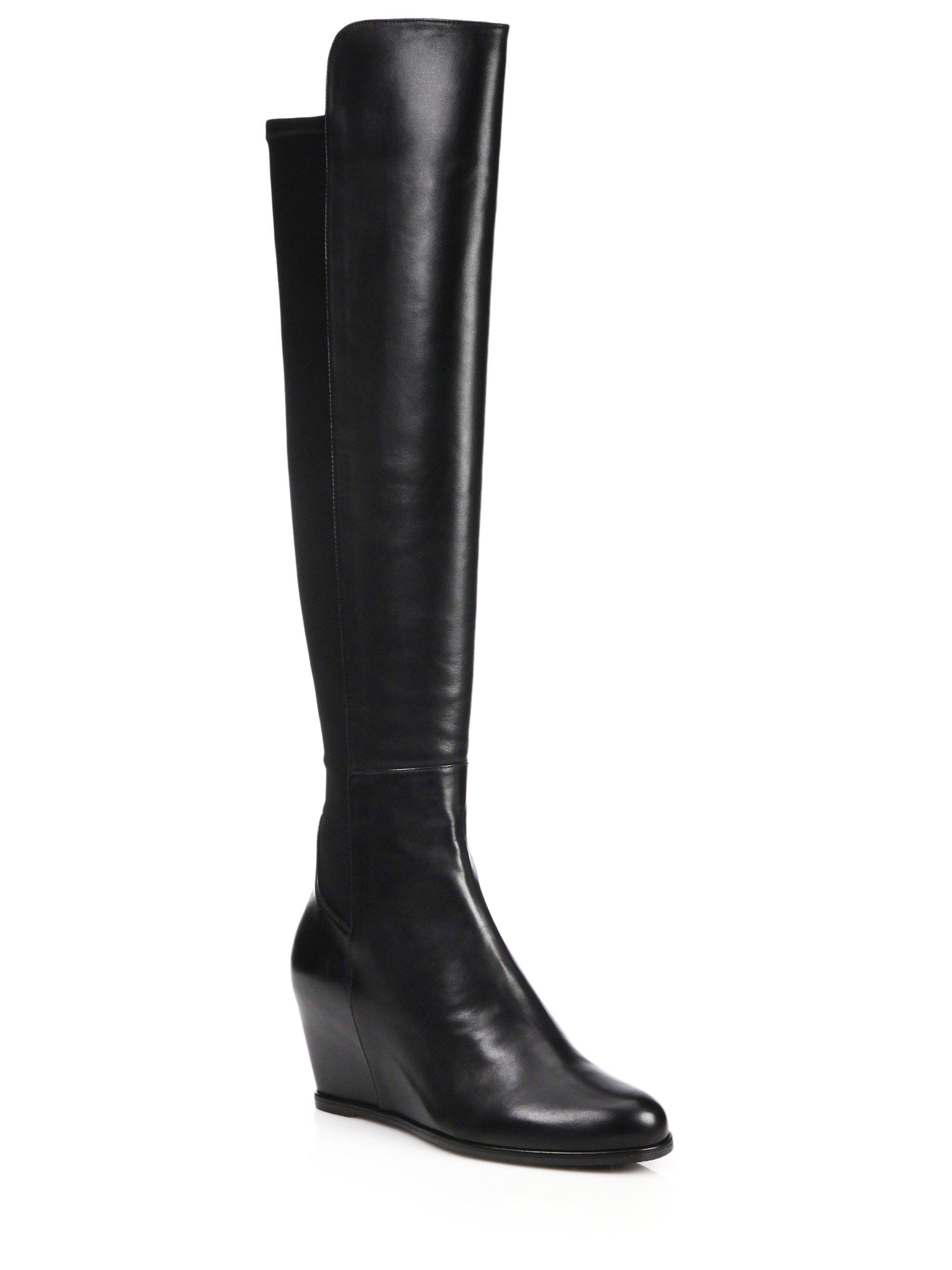 stuart weitzman semi leather suede the knee wedge