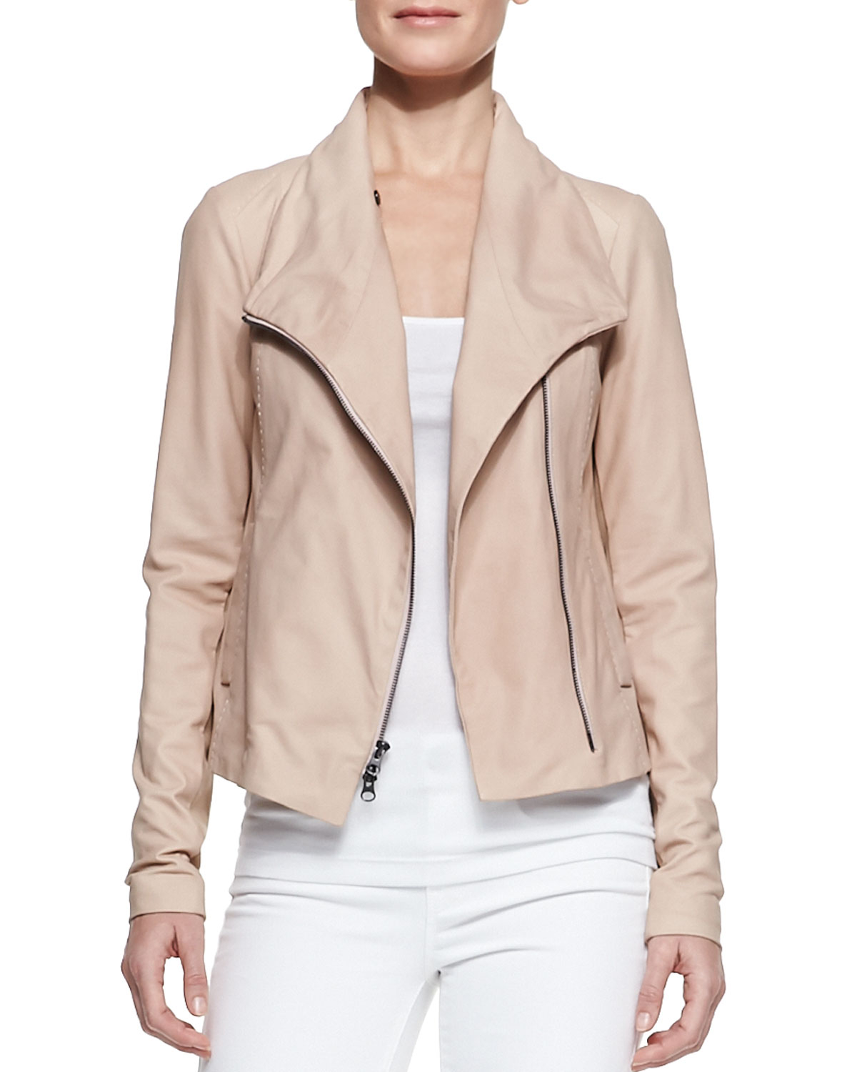 Vince Leather Scuba Shawlcollar Jacket Blush in Pink | Lyst