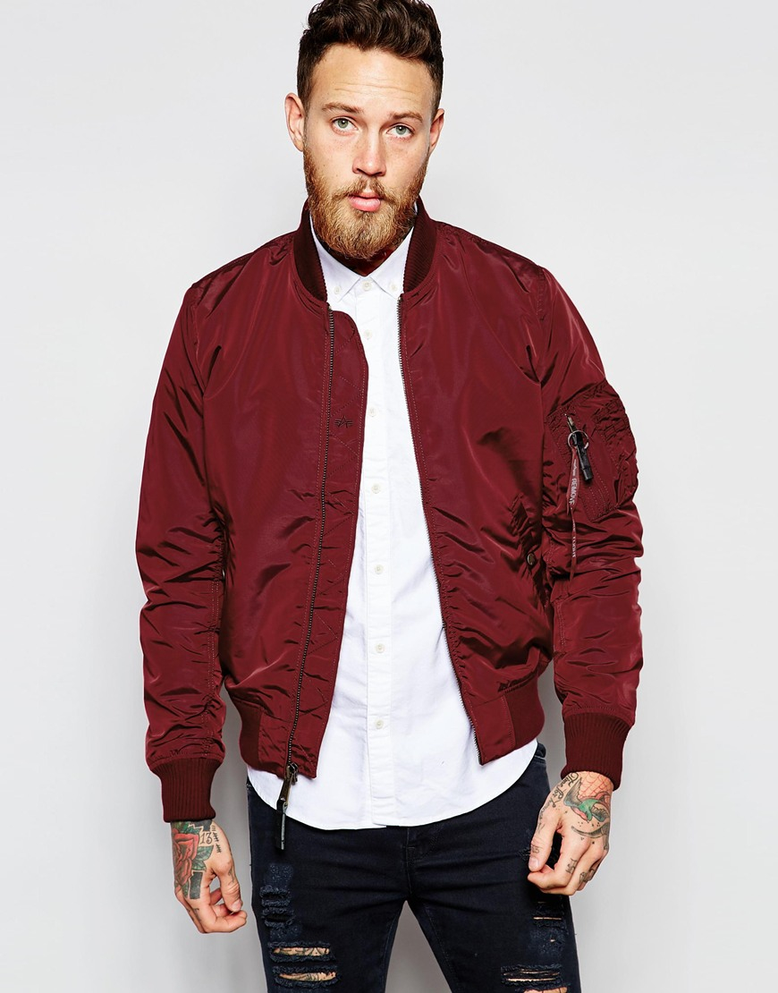 Alpha industries Ma-1 Bomber Jacket Slim Fit in Purple for Men | Lyst