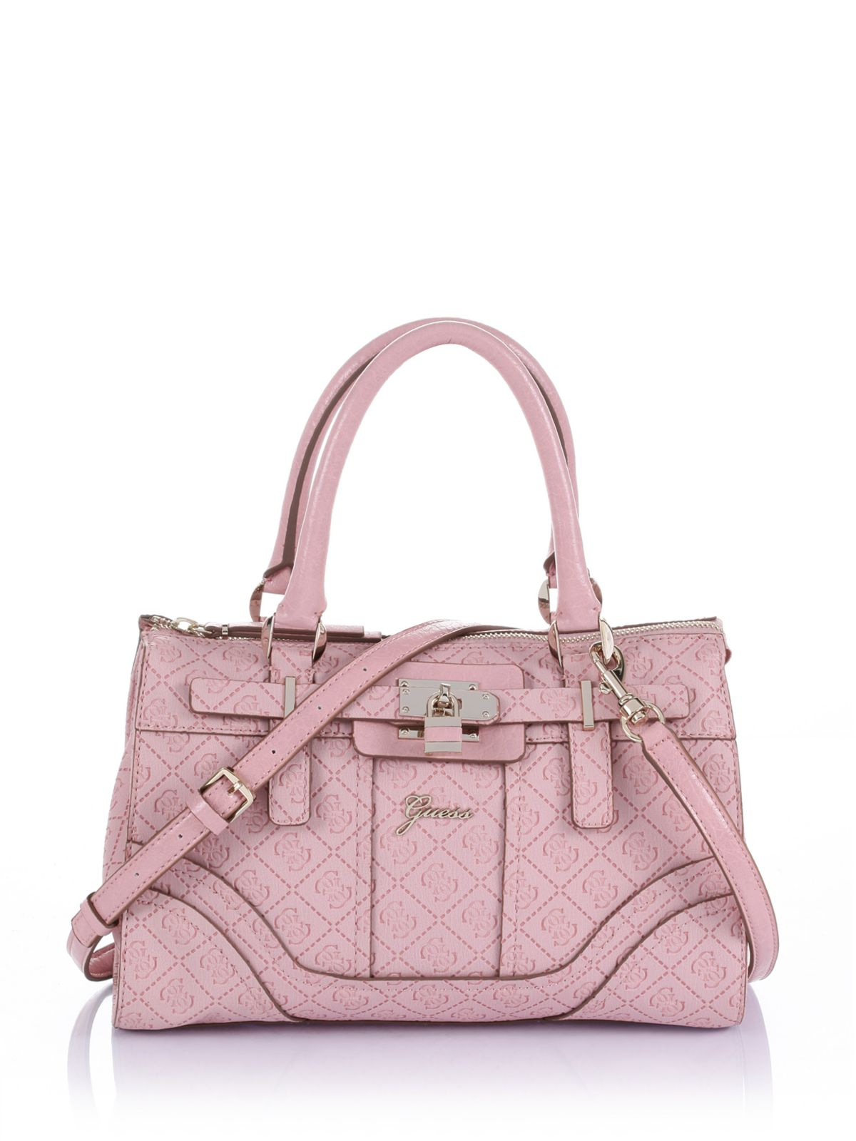 Guess La Vida Logo Small Satchel Bag in Pink | Lyst