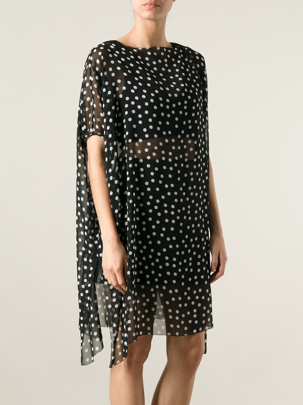 Lyst Dolce Amp Gabbana Sheer Polka Dot Dress In Black