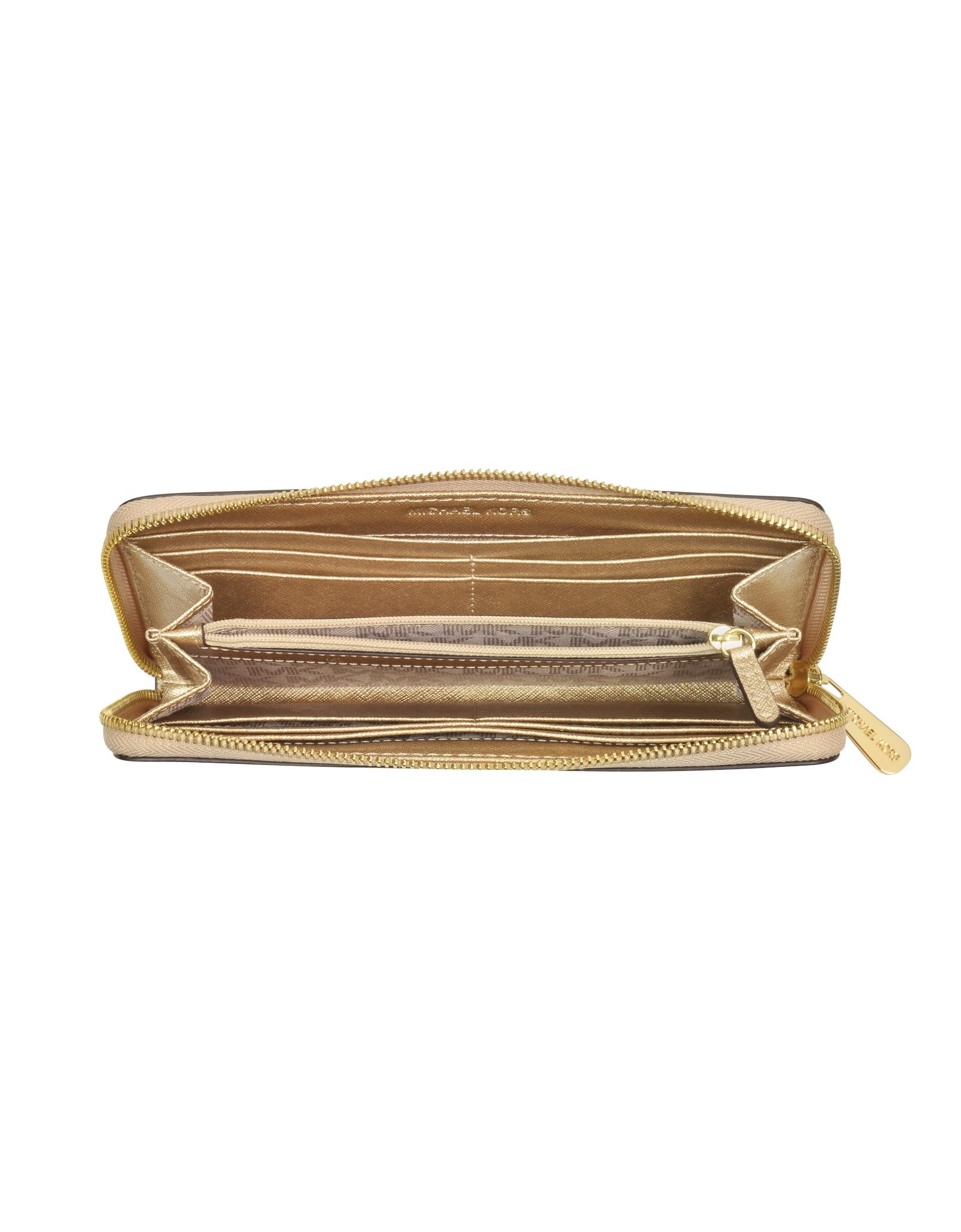 80bf2d6882345 Michael Kors Jet Set Travel Pale Gold Saffiano Leather Continental ...