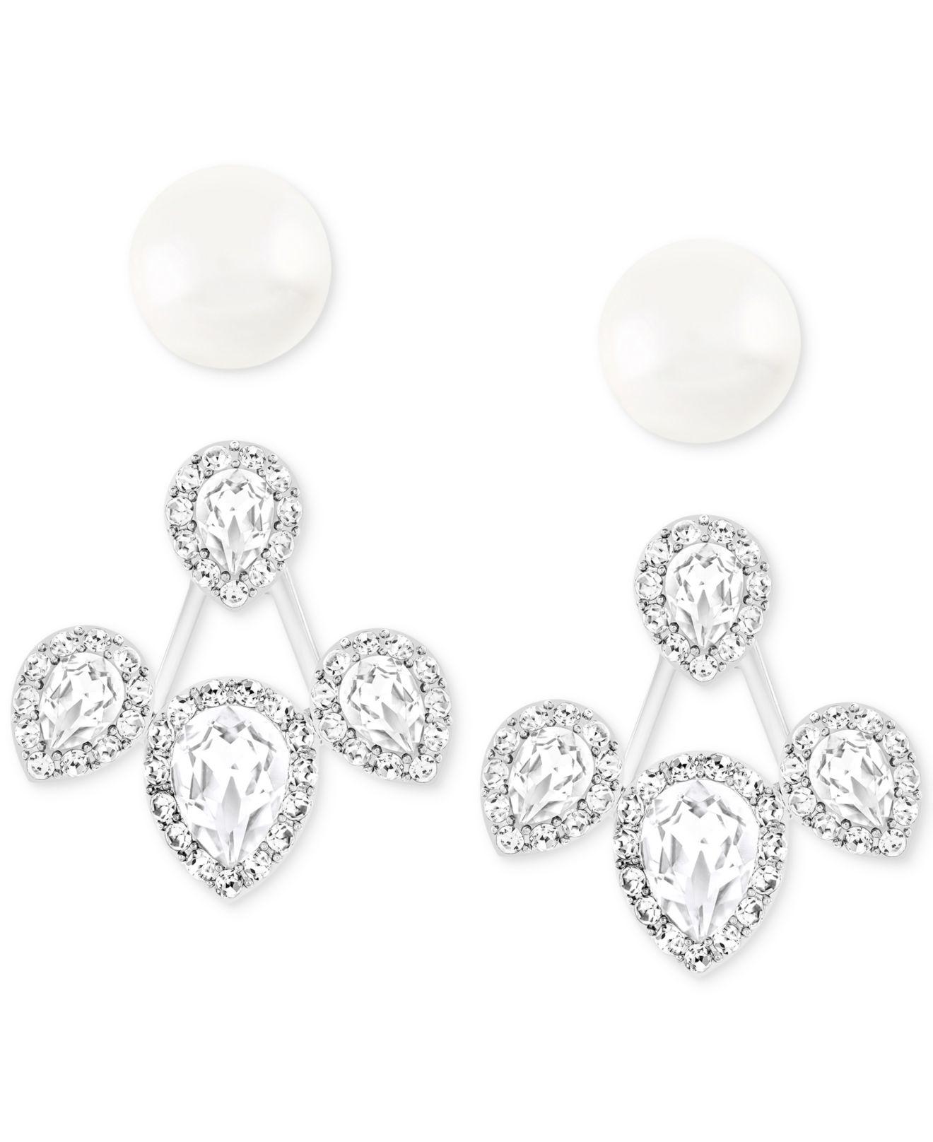 Swarovski Christie Pearl Stud And Crystal Jacket Earring Set In