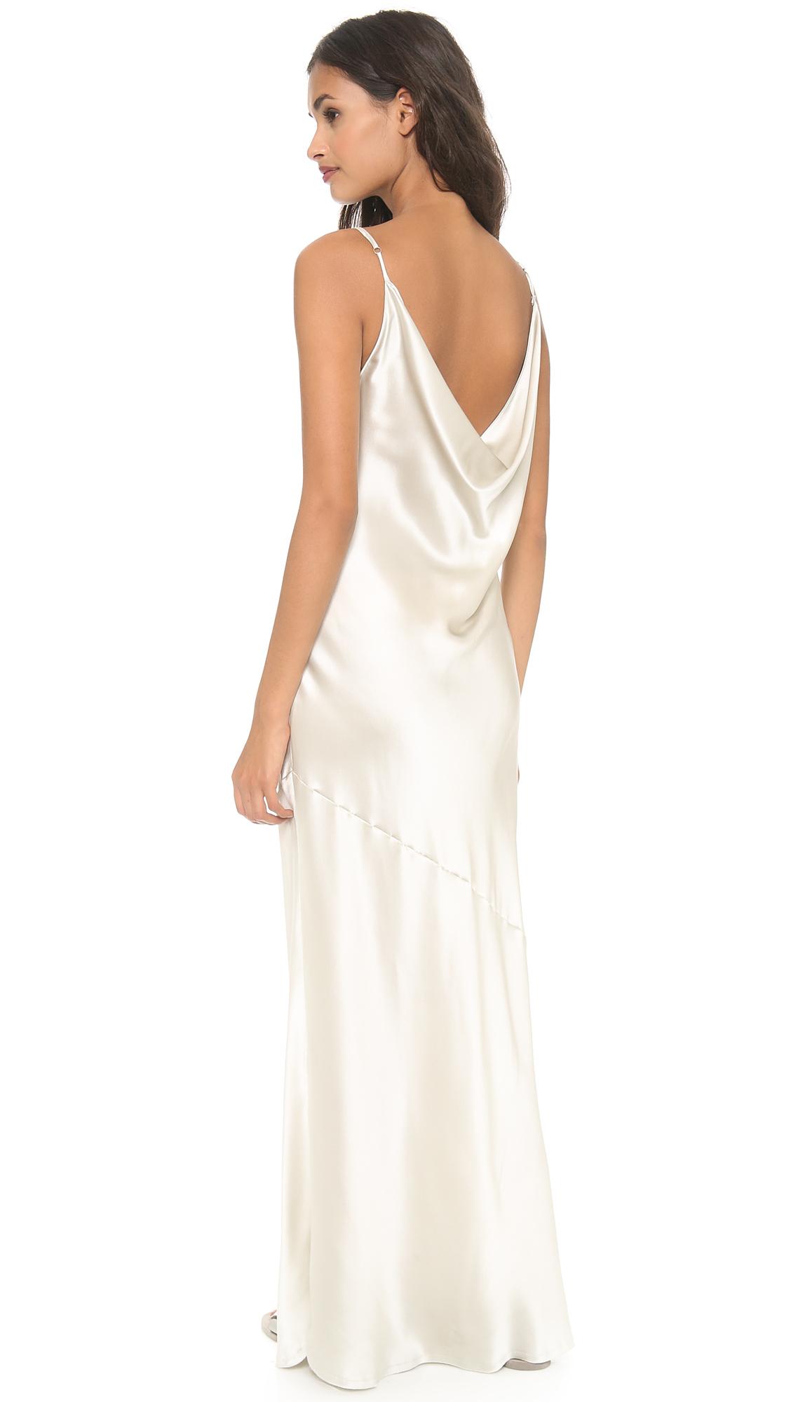 Nili lotan low back maxi dress ivory dew in white lyst for White silk slip wedding dress