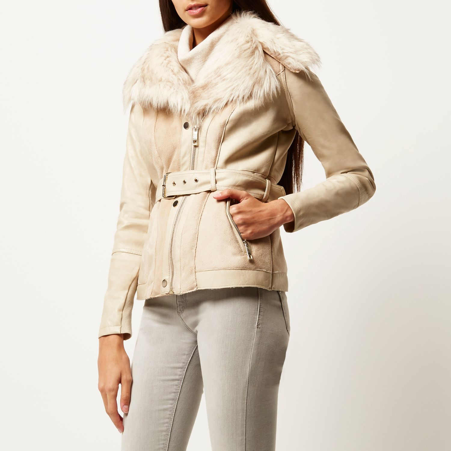 River Island Cream Leather Look Fitted Biker Jacket In