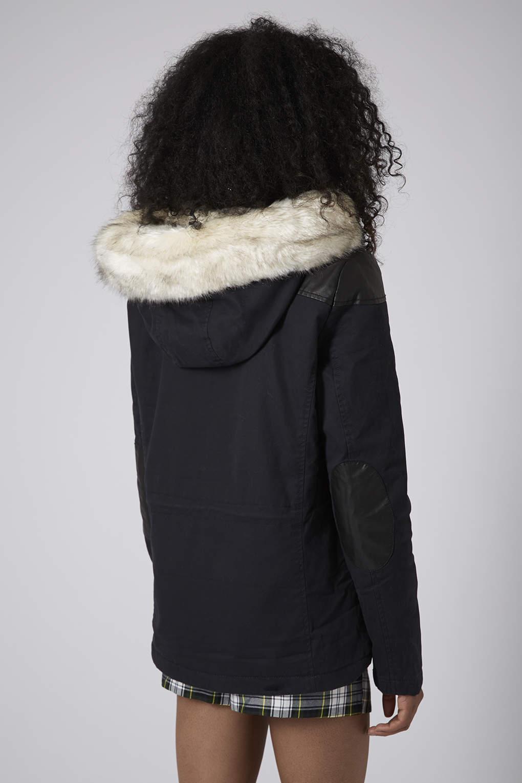 Topshop Petite Faux Fur Trim Borg Lined Short Parka Jacket In Blue Navy Blue Lyst