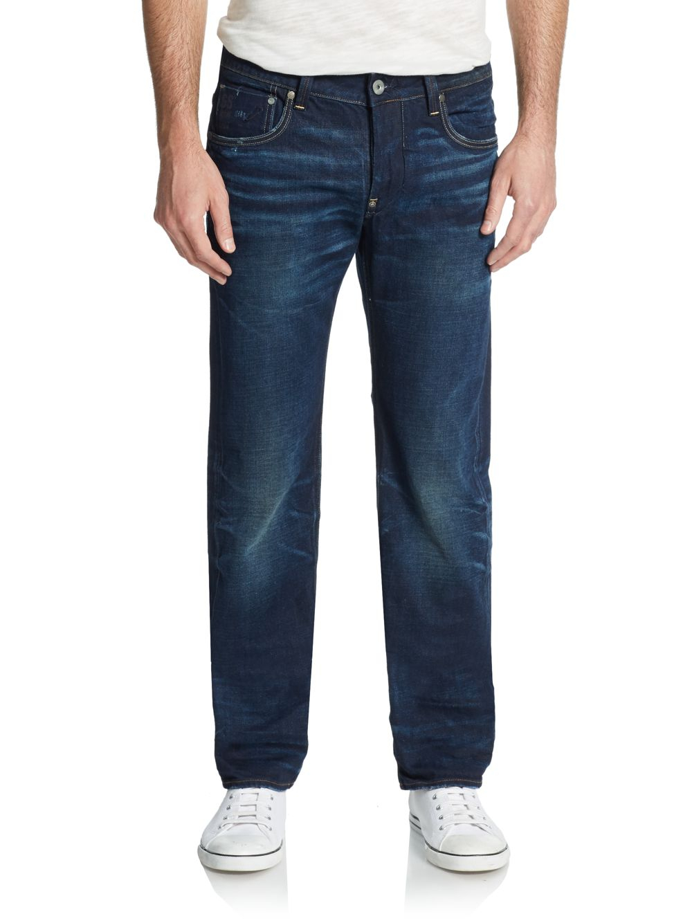 g star raw attacc straight leg jeans in blue for men. Black Bedroom Furniture Sets. Home Design Ideas