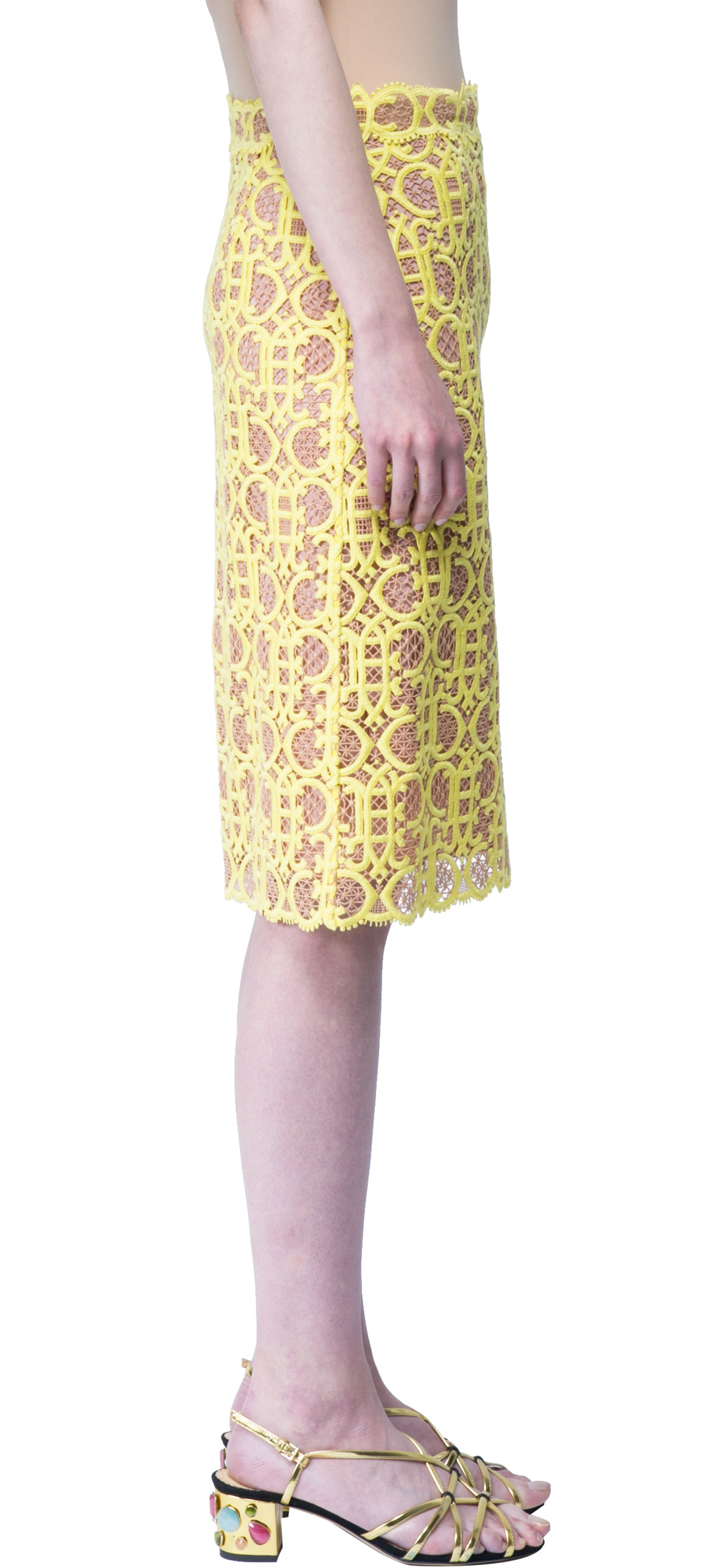 emilio pucci macrame lace pencil skirt in yellow lyst