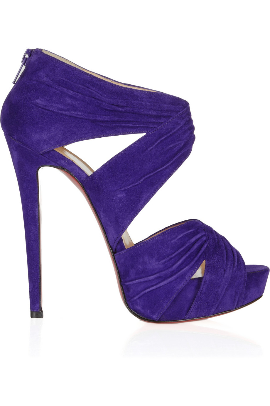 Lyst Christian Louboutin Bandra 140 Ruched Suede Sandals