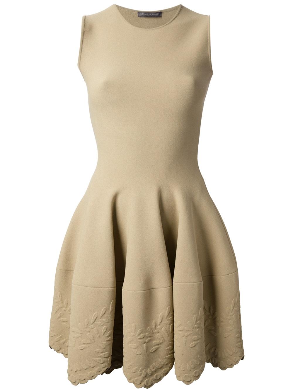 Lyst Alexander Mcqueen Sleeveless Empire Line Dress In Brown