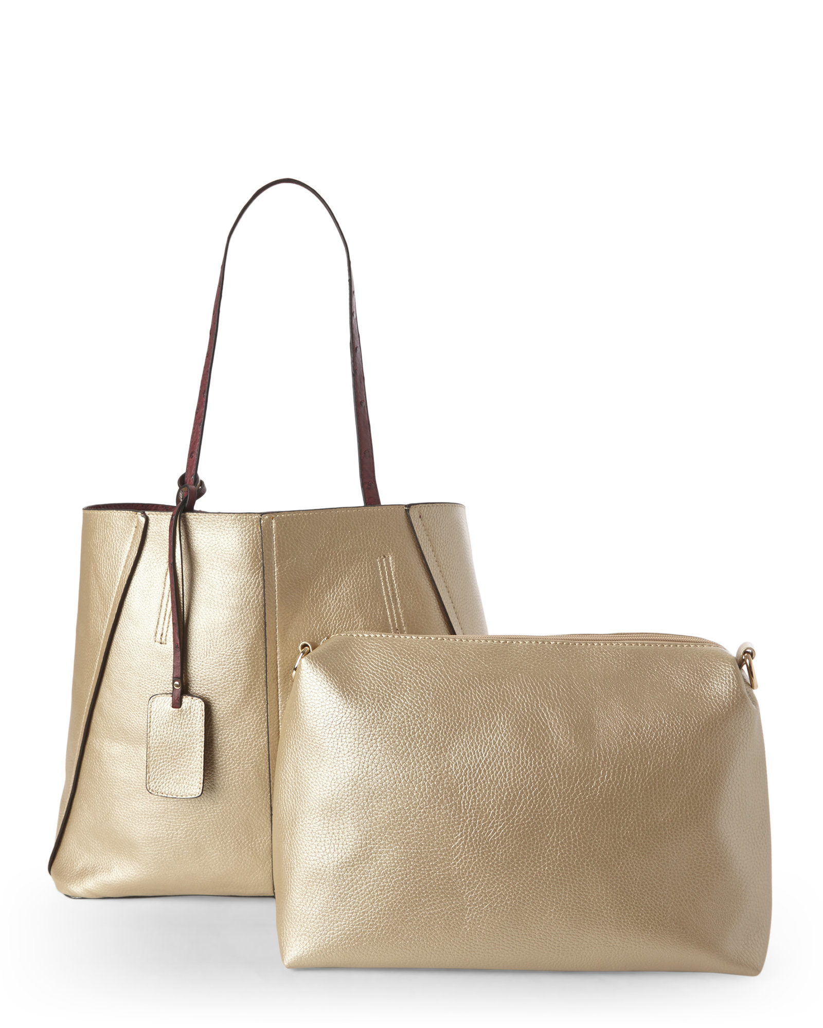 Lyst - Imoshion Wine Ostrich   Gold Reversible Bag-In-Bag Tote in ... 525e67a691