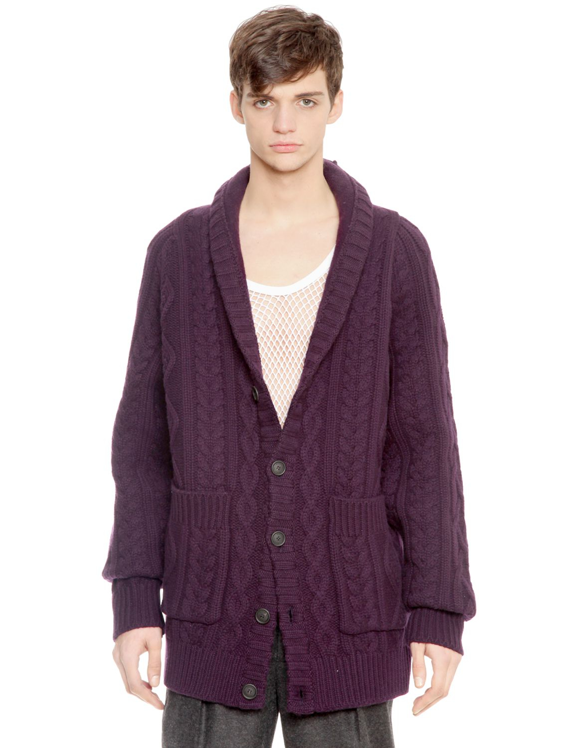 Burberry prorsum Heavy Wool Cable Knit Cardigan in Purple for Men ...