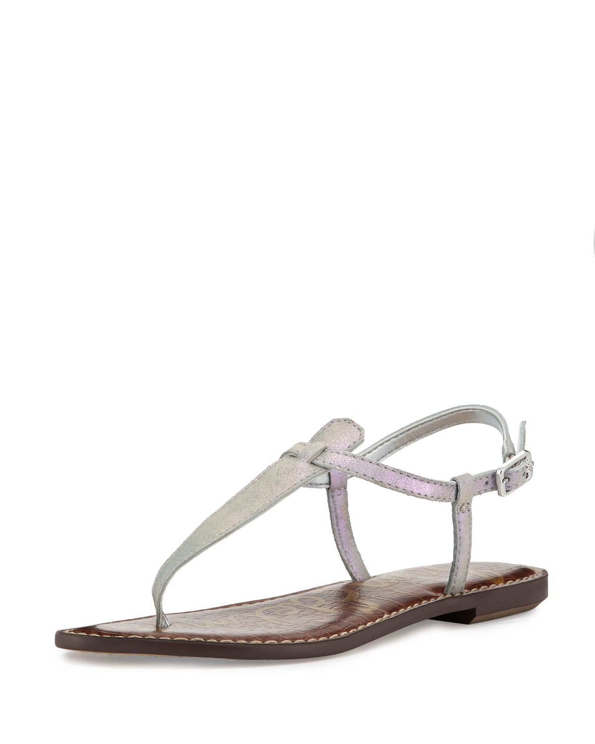 9a049ea86f86ee Gallery. Sam Edelman - Gray Gigi Iridescent Flat Thong Suede Sandals - Lyst