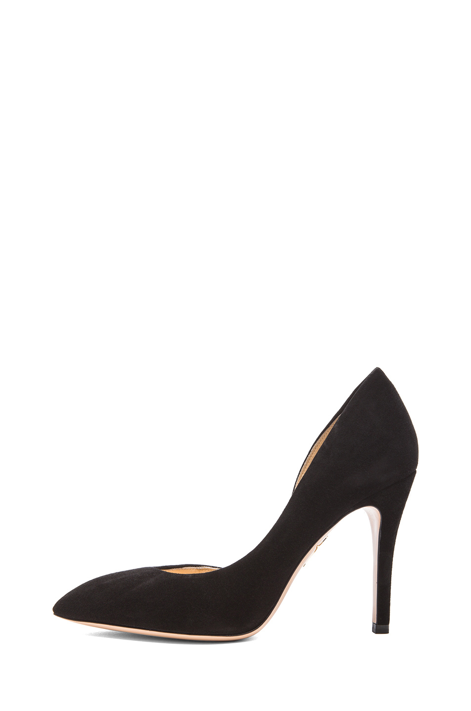 charlotte olympia the lady is a vamp suede heels in black lyst. Black Bedroom Furniture Sets. Home Design Ideas
