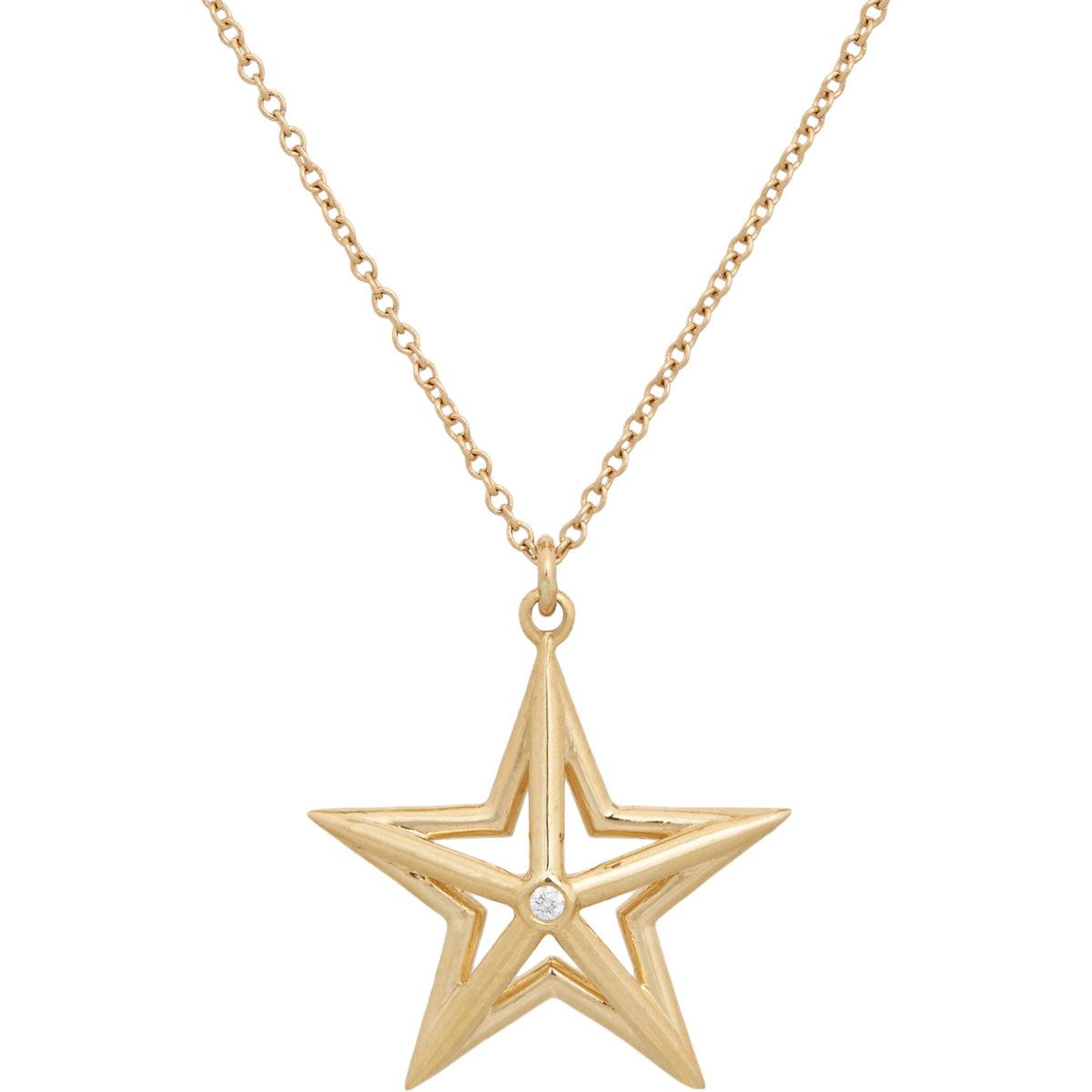 Dean Harris Diamond Amp Gold Star Pendant On Chain In