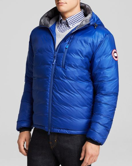 Canada Goose Lodge Hooded Down Jacket In Blue For Men