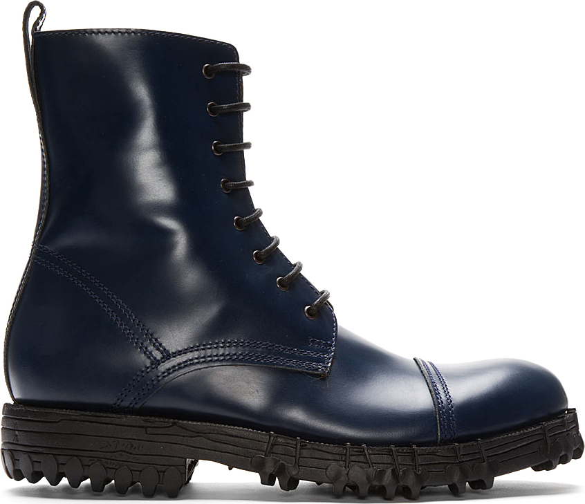 Acne studios Navy Leather Mart Combat Boots in Blue for Men | Lyst