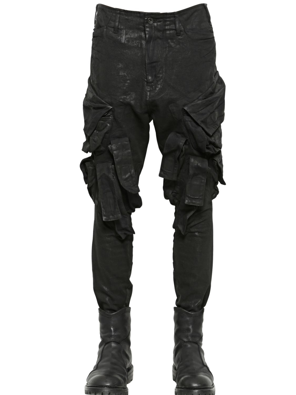 Julius Coated Cotton Denim Cargo Pants in Black for Men | Lyst