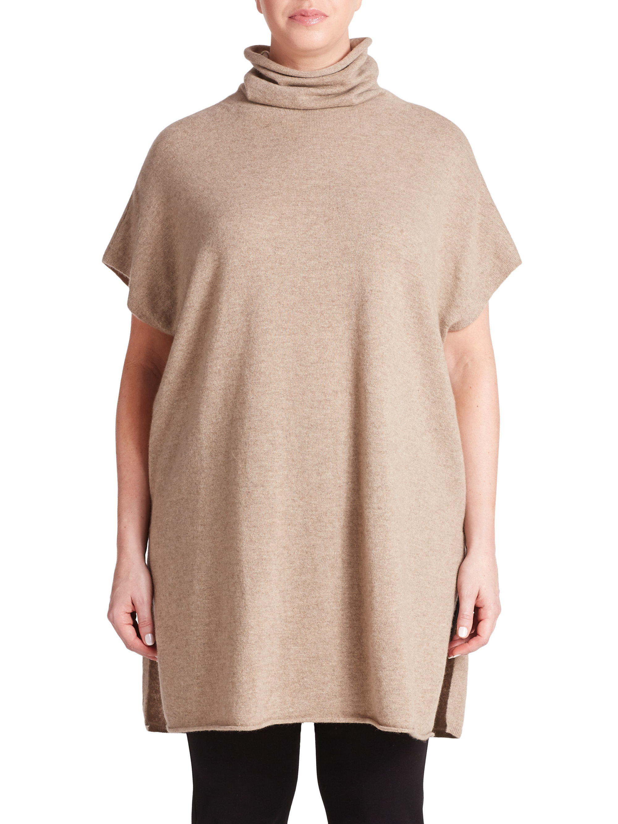 Eileen fisher Cashmere Turtleneck Tunic in Brown | Lyst