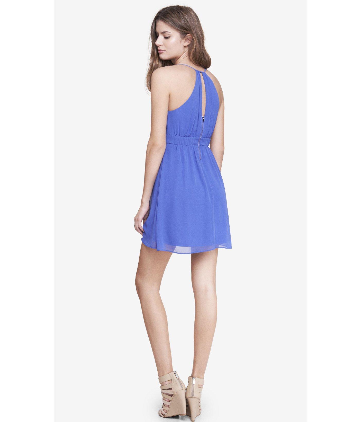 e4d3900561 Express Blue Chiffon Crisscross Babydoll Dress in Blue - Lyst