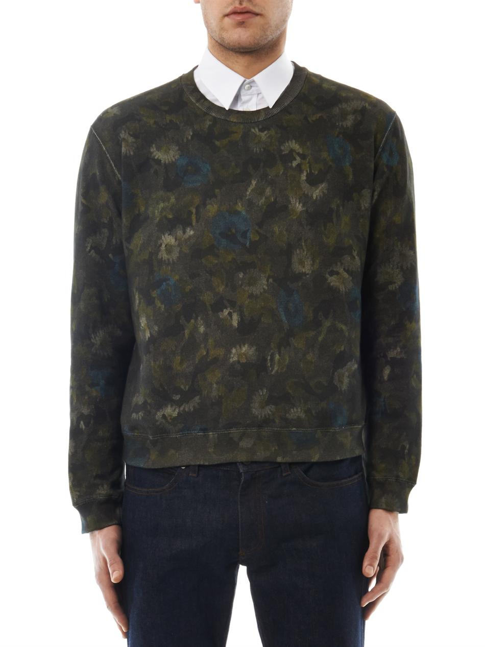 Valentino Floral Camoprint Cotton Sweatshirt In Green For