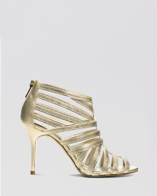 michael michael kors open toe sandals tatianna high heel in gold pale gold lyst. Black Bedroom Furniture Sets. Home Design Ideas